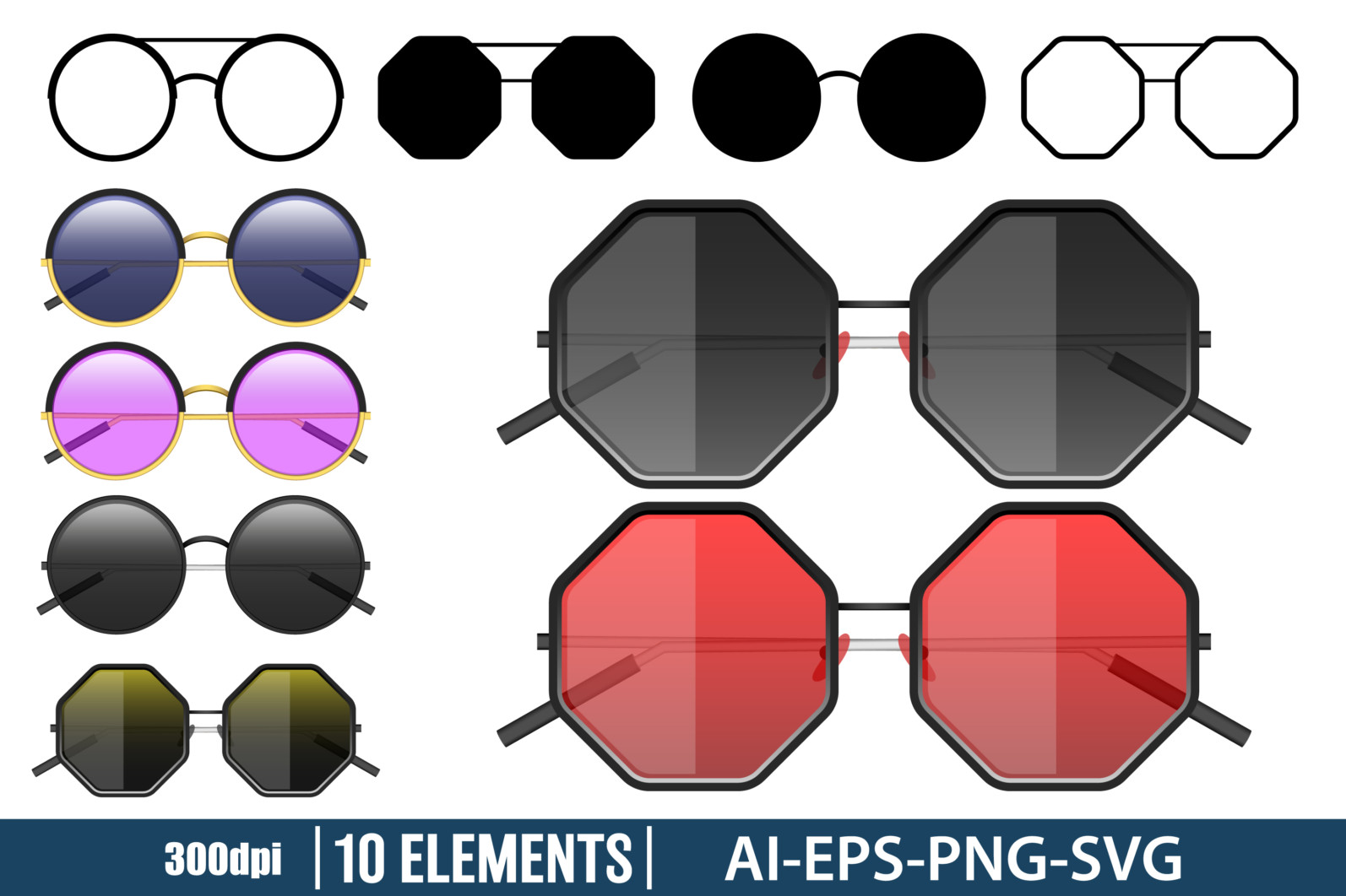 Hipster sunglasses clipart vector design illustration. Sunglasses set. Vector Clipart Print - HIPSTER SUNGLASSES scaled -