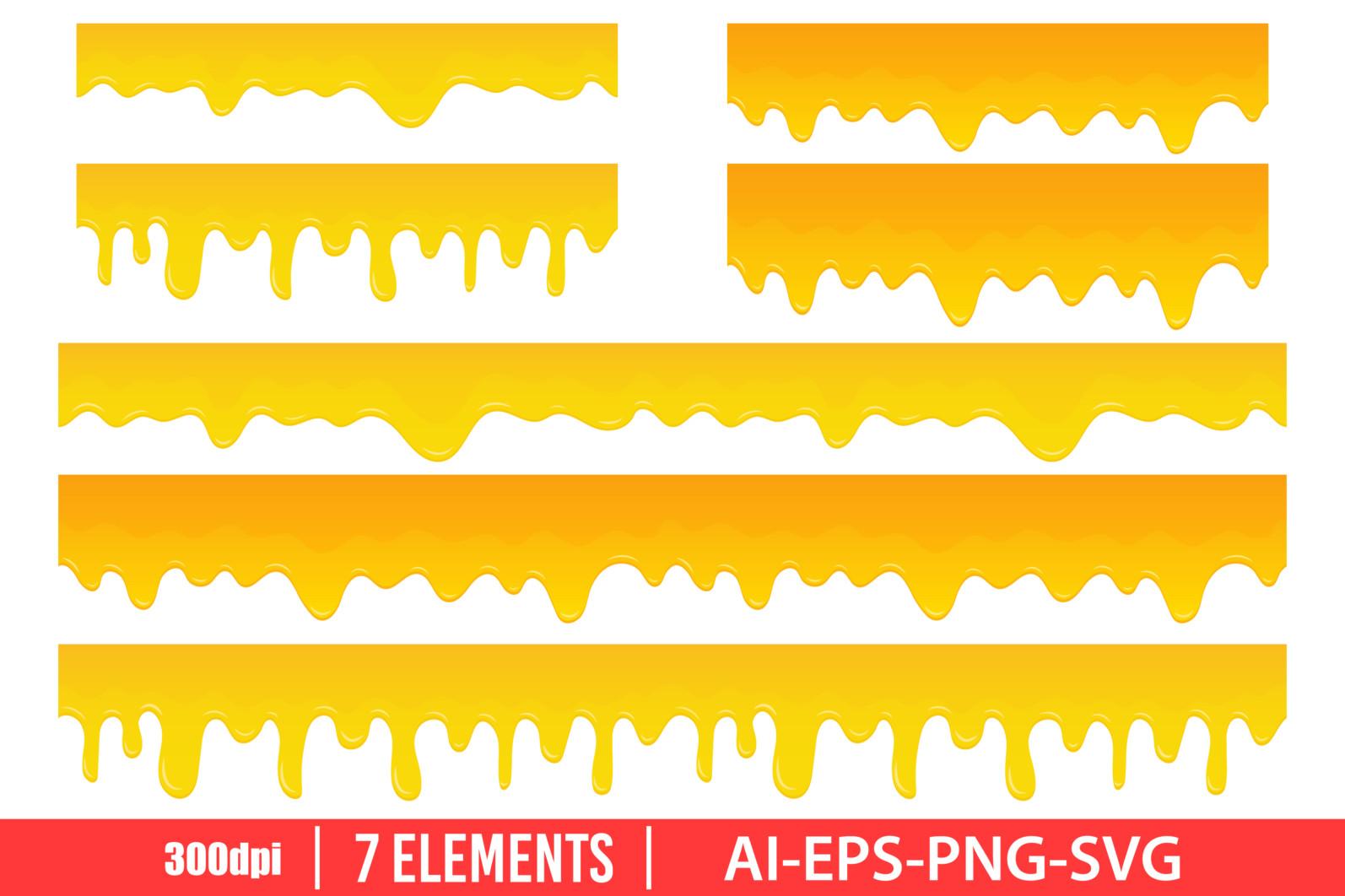 Honey dripping clipart vector design illustration. Honey set. Vector Clipart Print - HONEY scaled -