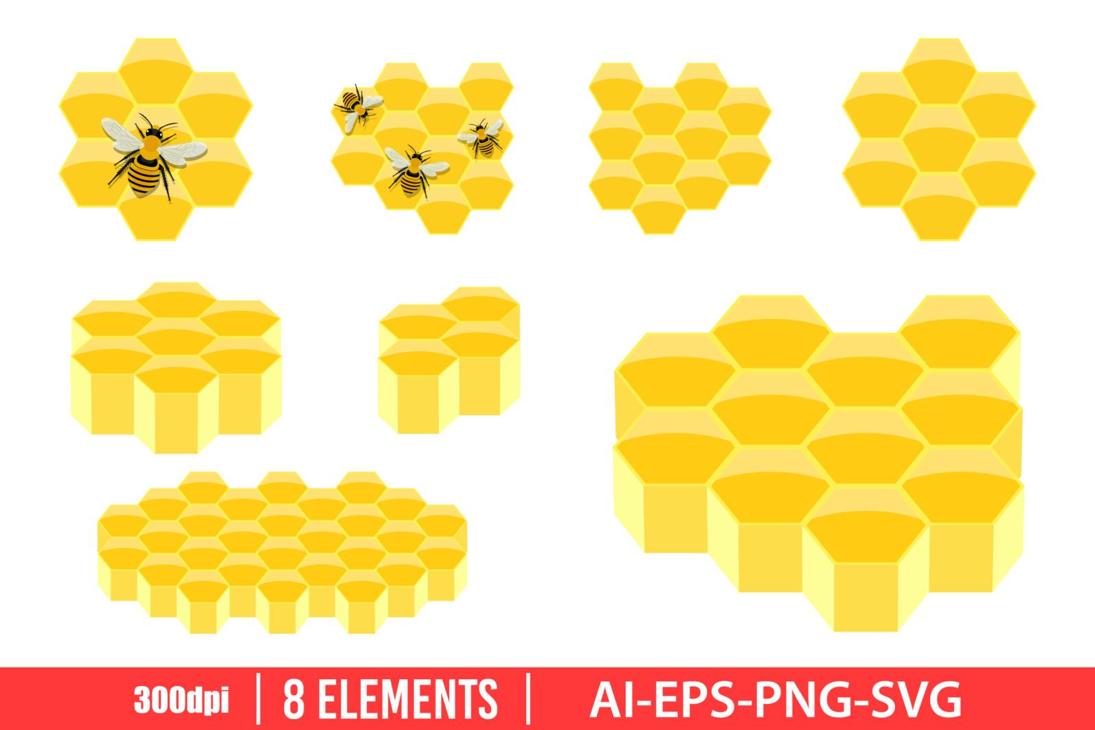 Honeycomb clipart vector design illustration. Honeycomb set. Vector Clipart Print - HONEYCOMB scaled -