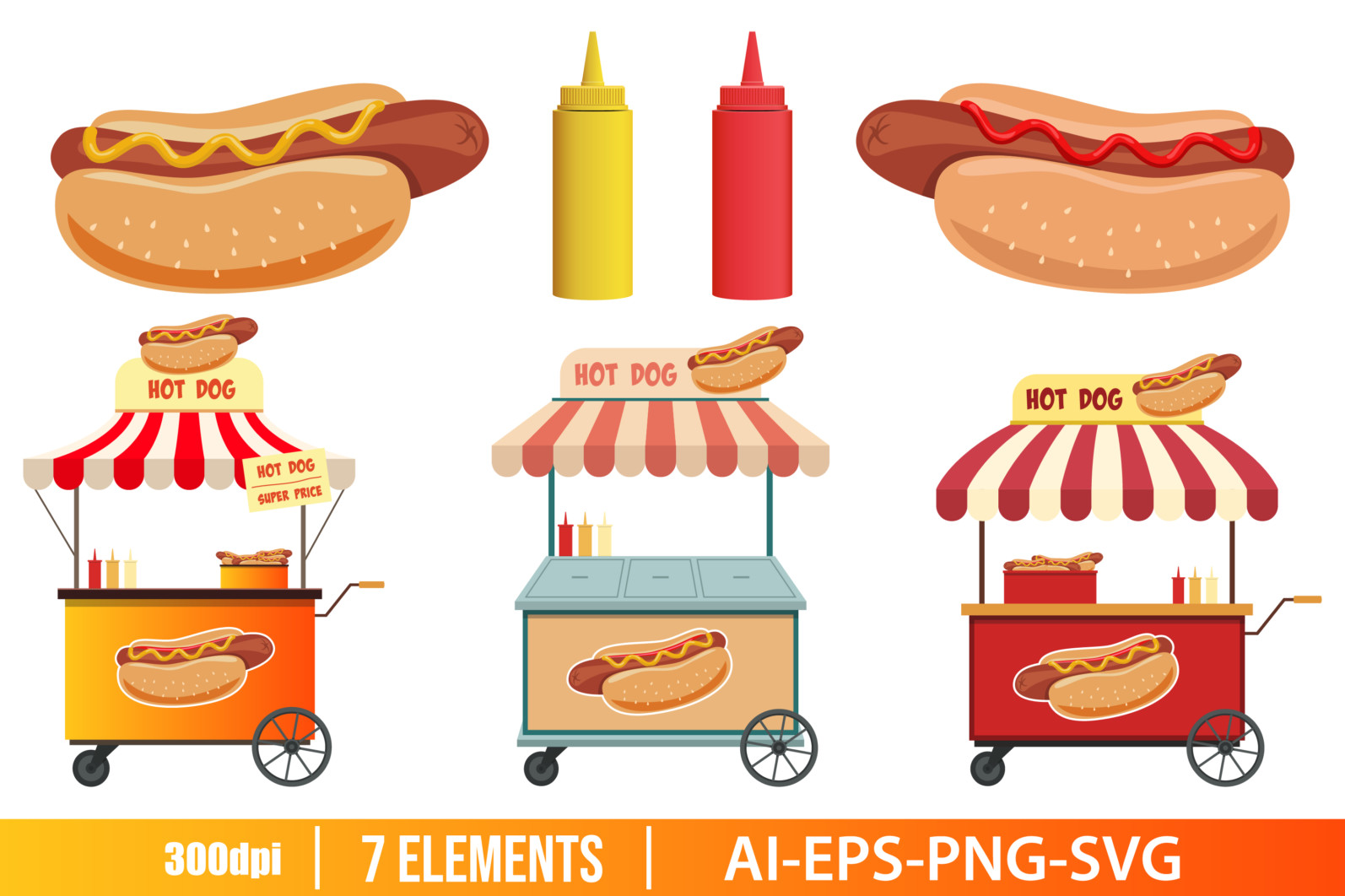 Hot dog street shop clipart vector design illustration. Hot dog set. Vector Clipart Print - HOT DOG scaled -