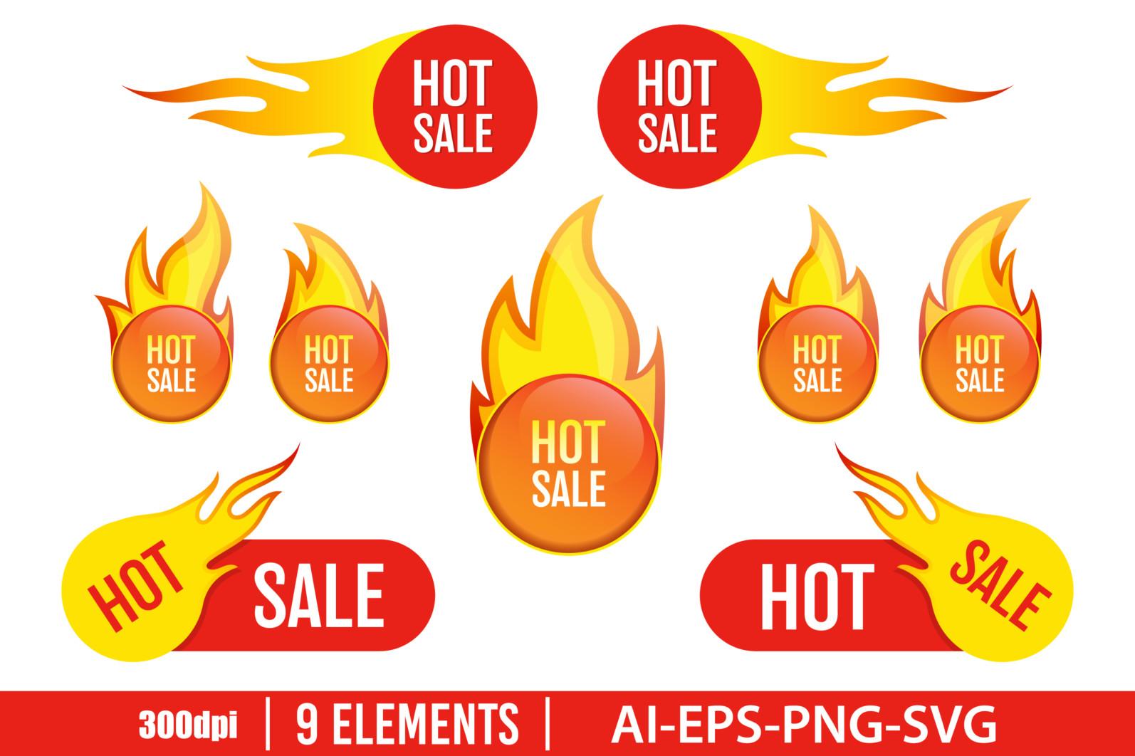 Hot sale emblem clipart vector design illustration. Hot sale emblem set. Vector Clipart Print - HOT SALE scaled -
