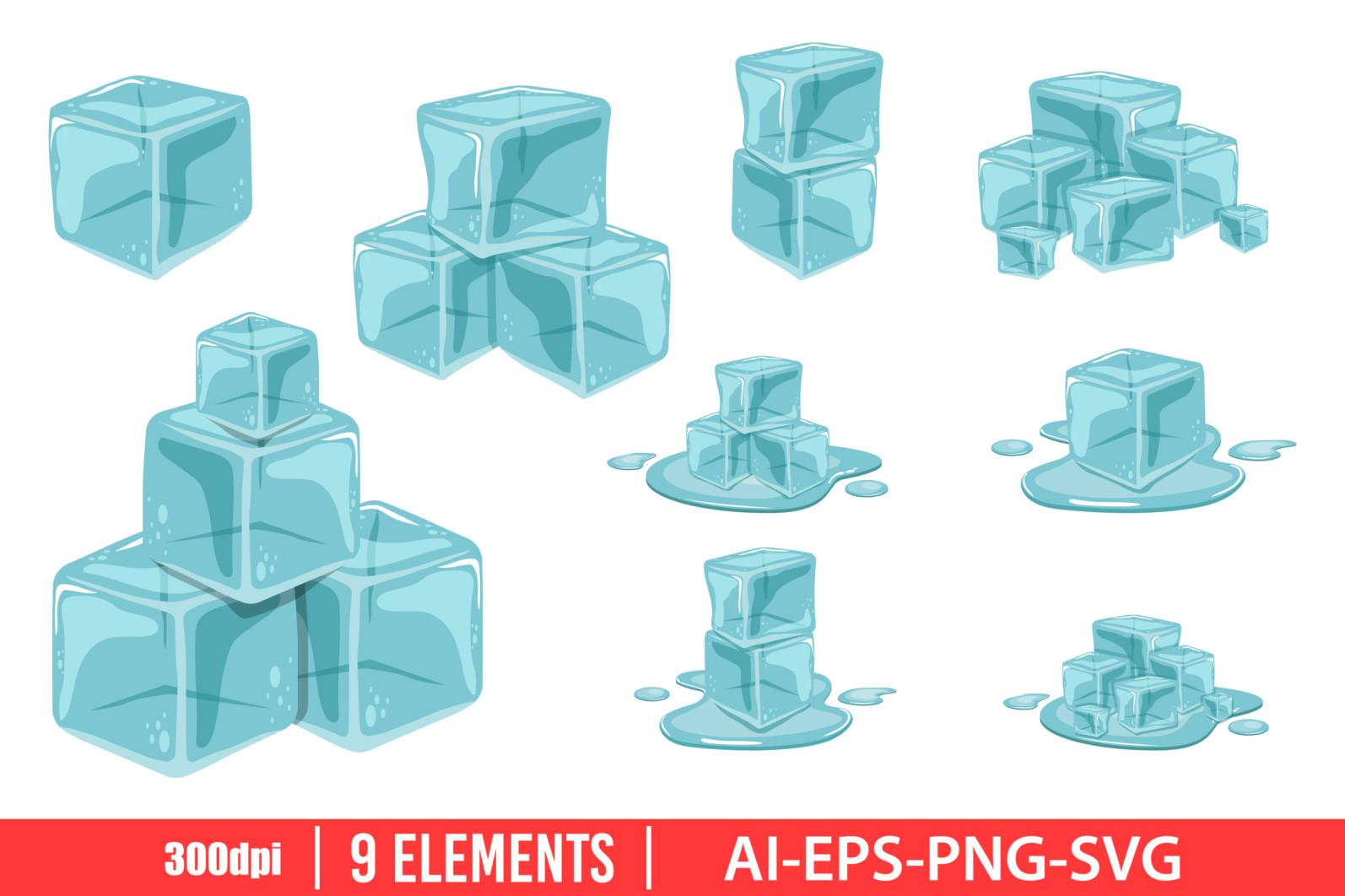 Ice cube clipart vector design illustration. Ice cube set. Vector Clipart Print - ICE CUBE scaled -