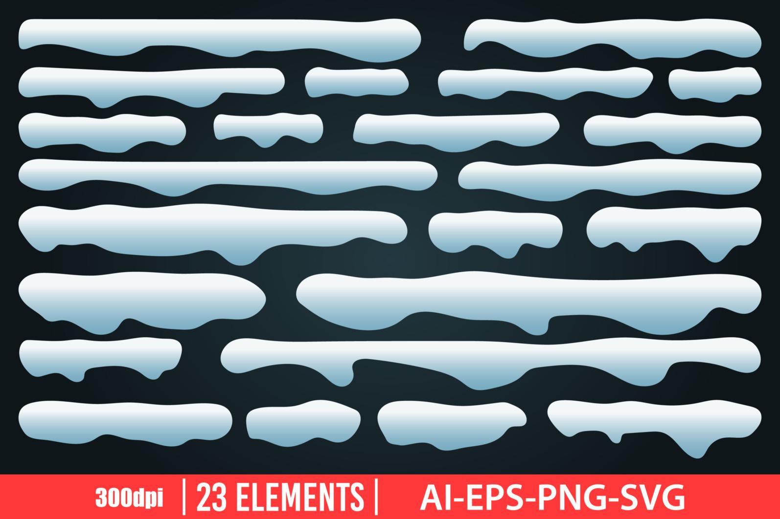 Snow caps clipart vector design illustration. Snow caps set. Vector Clipart Print - ICE CUPS scaled -