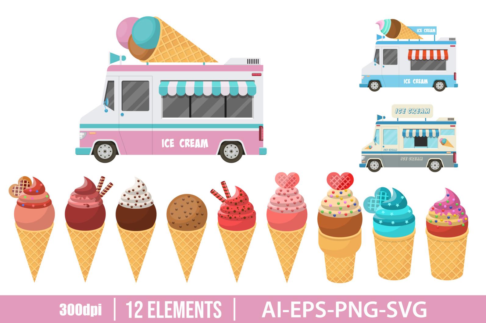 Cone ice cream and ice cream car clipart vector design illustration. Vector Clipart Print - ICE CREAM ELEMENTS scaled -