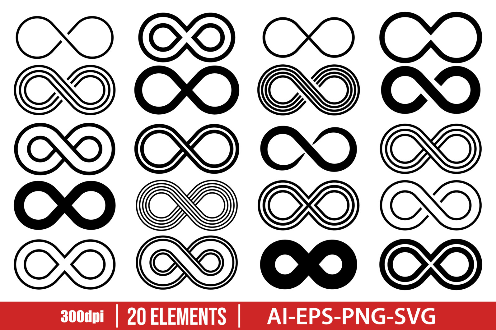 Infinity icon clipart vector design illustration. Infinity set. Vector Clipart Print - INFINITY scaled -