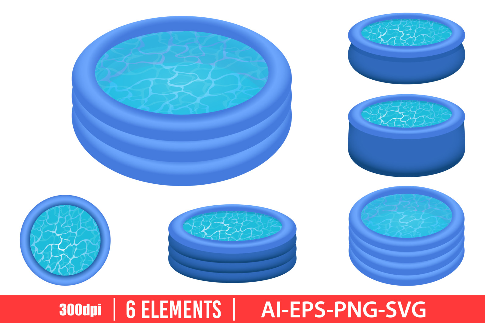 Inflatable pool clipart vector design illustration. Inflatable pool set. Vector Clipart Print - INFLATABLE POOL scaled -