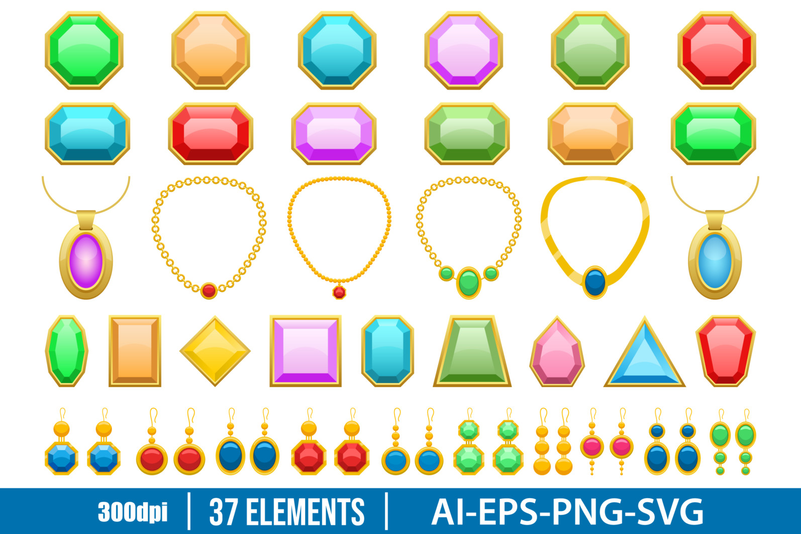 Jewelry clipart vector design illustration. Vector Clipart Print - JEWELRY scaled -