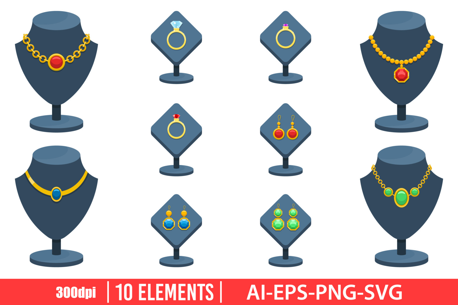 Jewelry clipart vector design illustration. Jewelry set. Vector Clipart Print - JEWELRY 1 scaled -