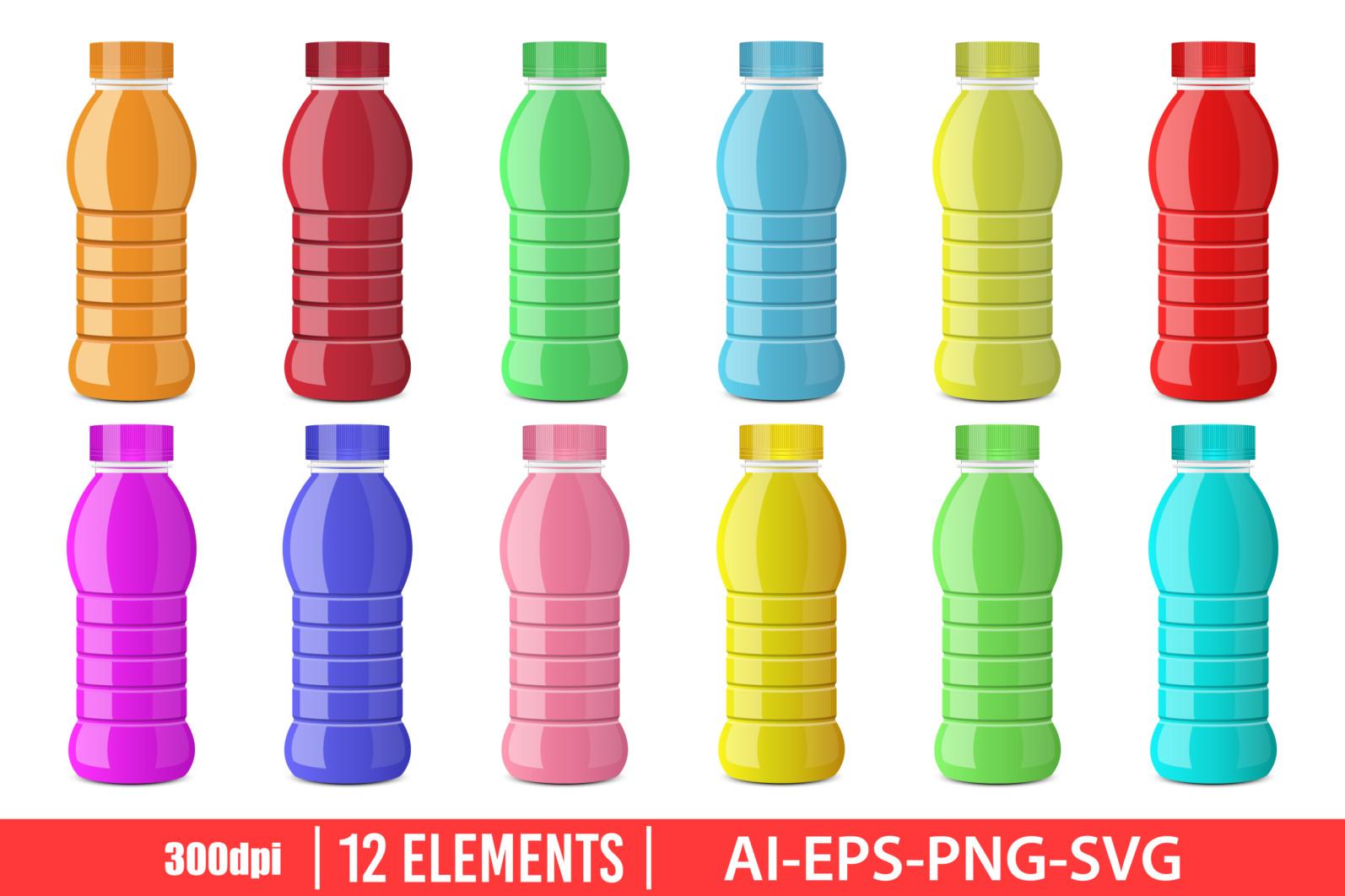 Juice bottle clipart vector design illustration. Juice bottle set. Vector Clipart Print - JUICE BOTTLE 1 scaled -