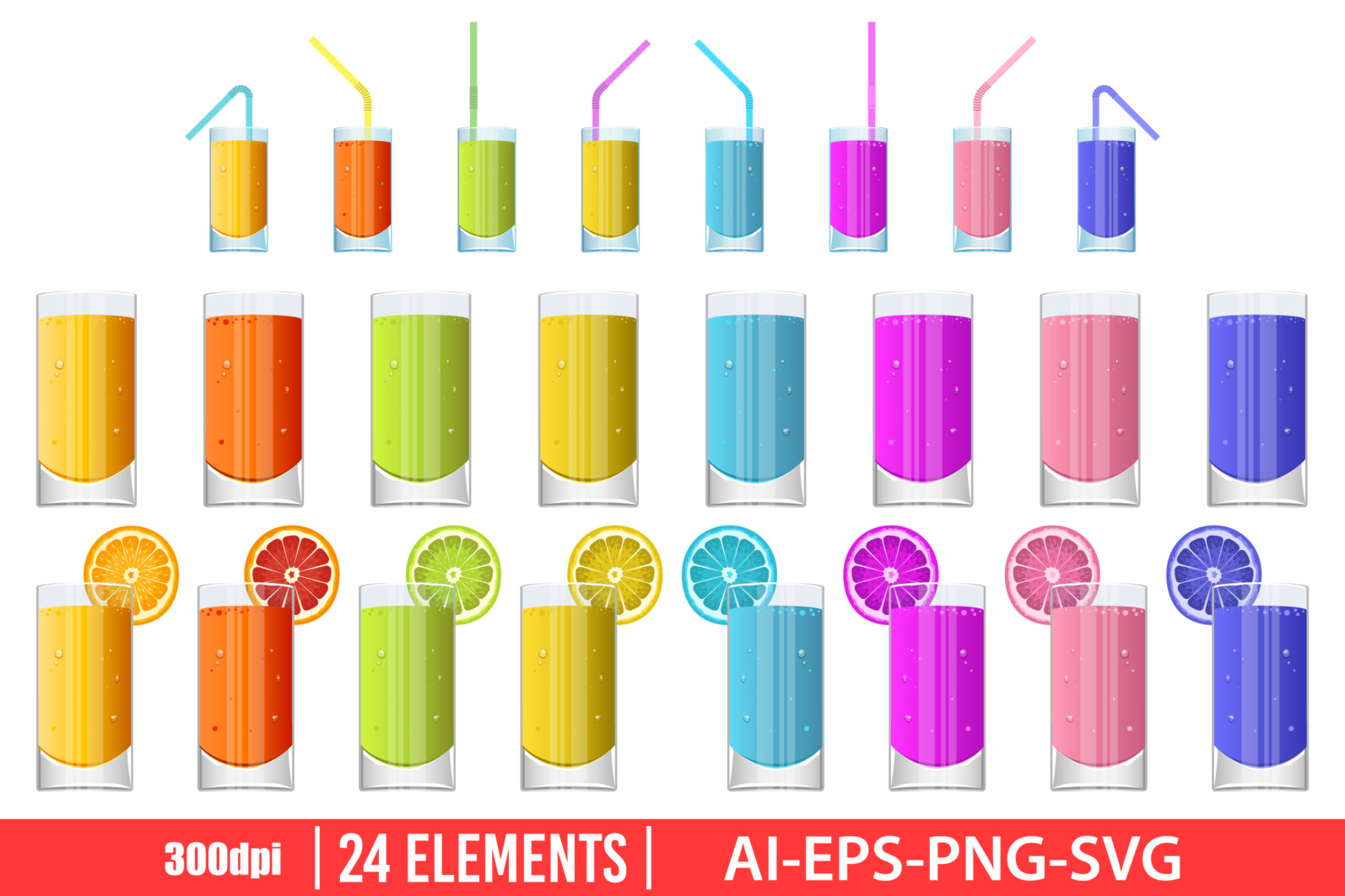 Glass of fresh juice clipart vector design illustration. Fresh juice glass set. Vector Clipart Print - JUICE GLASS scaled -