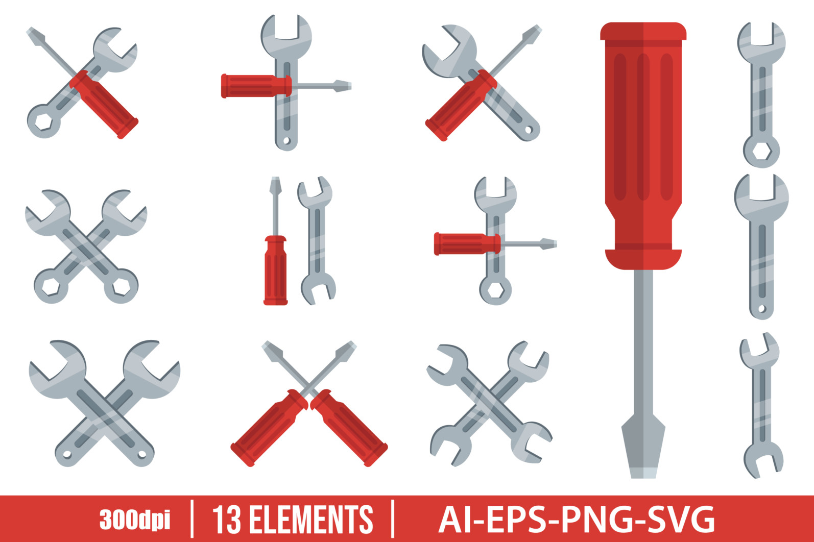Wrench tool and screwdriver clipart vector design illustration. Tool set. Vector Clipart Print - KEY AND SCREWDRIVER scaled -