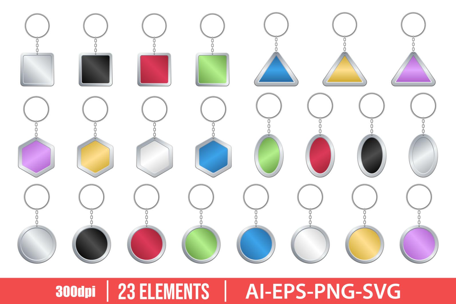 Key chain clipart vector design illustration. Key ring set. Vector Clipart Print - KEY RING scaled -