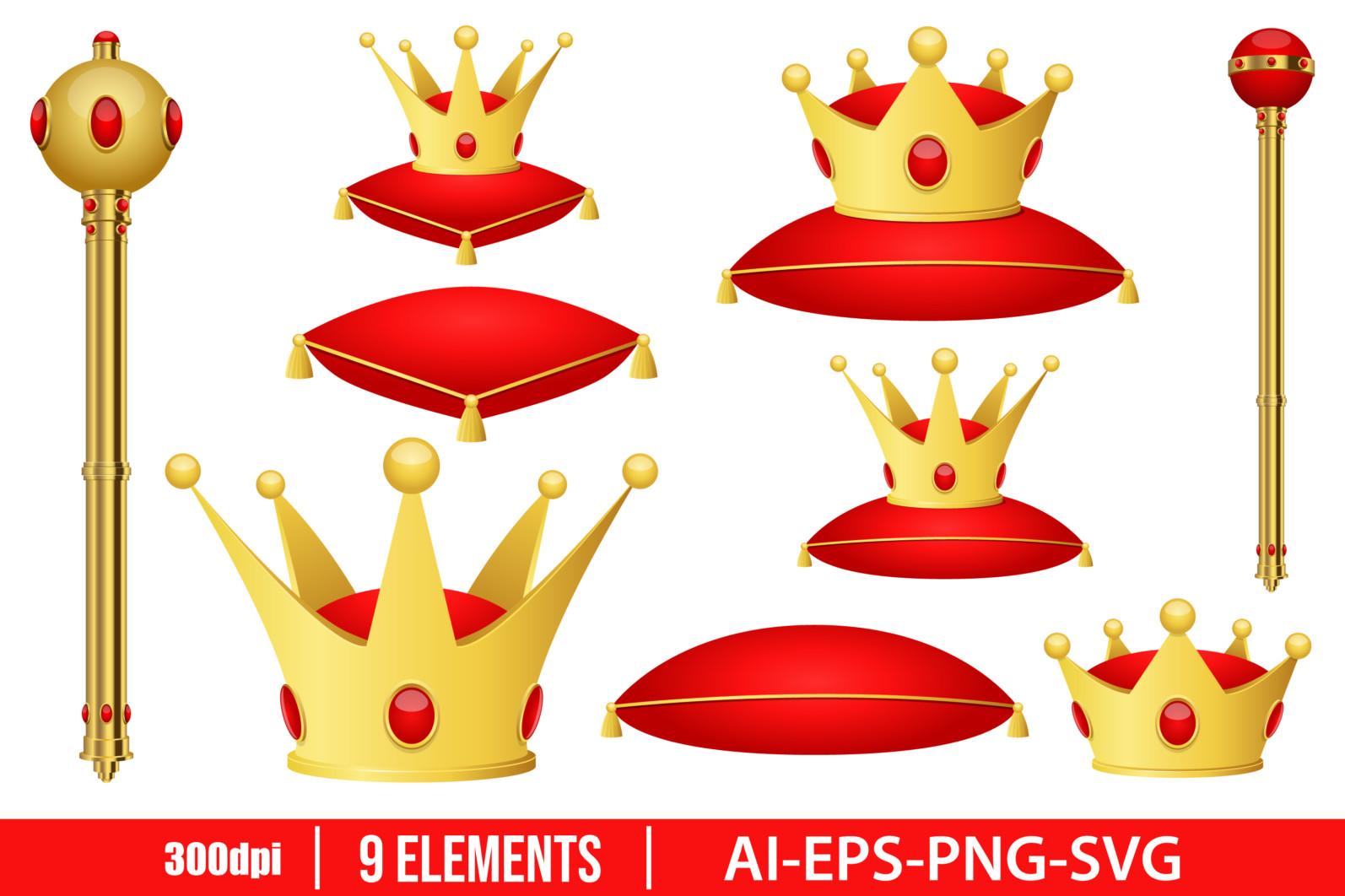Golden king crown and scepter clipart vector design illustration. King set. Vector Clipart Print - GOLDEN CROWN AND SCEPTER scaled -