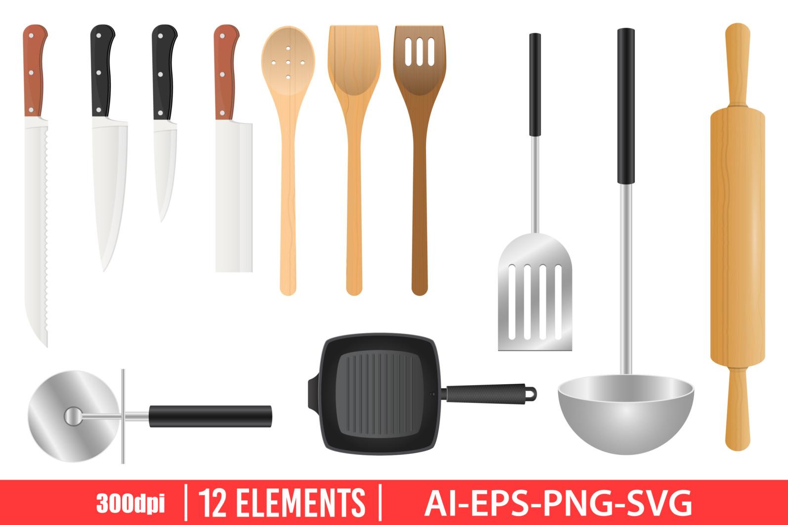 Kitchenware clipart vector design illustration. Kitchenware set. Vector Clipart Print - KITCHENWARE scaled -