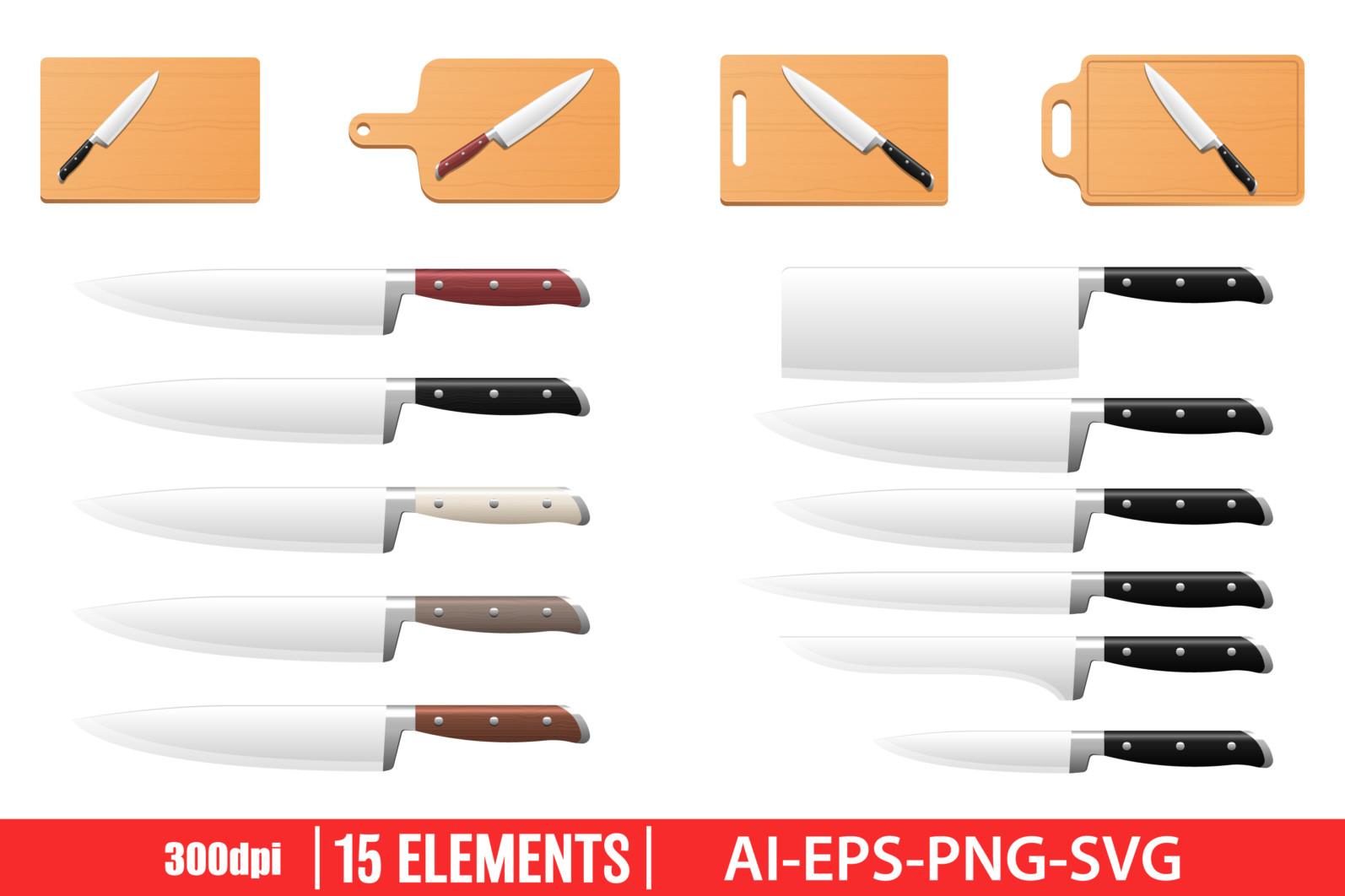 Kitchen knife clipart vector design illustration. Knife set. Vector Clipart Print - KNIFE scaled -