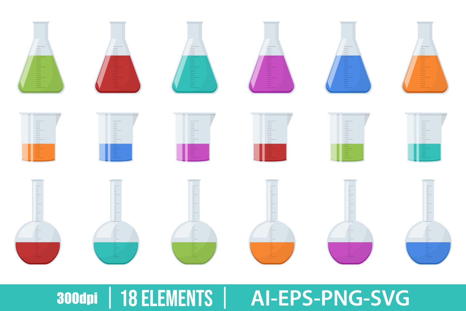 Laboratory chemical flask clipart vector design illustration. Vector Clipart Print - LABORATORY FLASKS scaled -