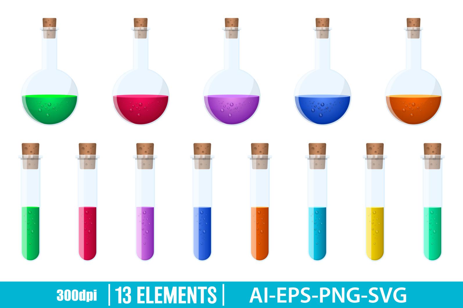 Laboratory chemical flasks clipart vector design illustration. Flasks set. Vector Clipart Print - LABORATORY FLASKS 1 scaled -