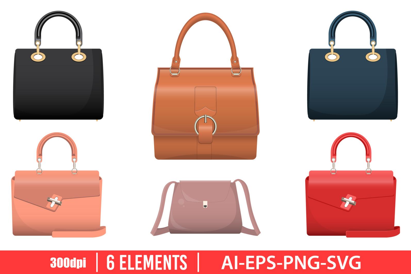Lady bag clipart vector design illustration. Lady bag set. Vector Clipart Print - LADY BAG scaled -