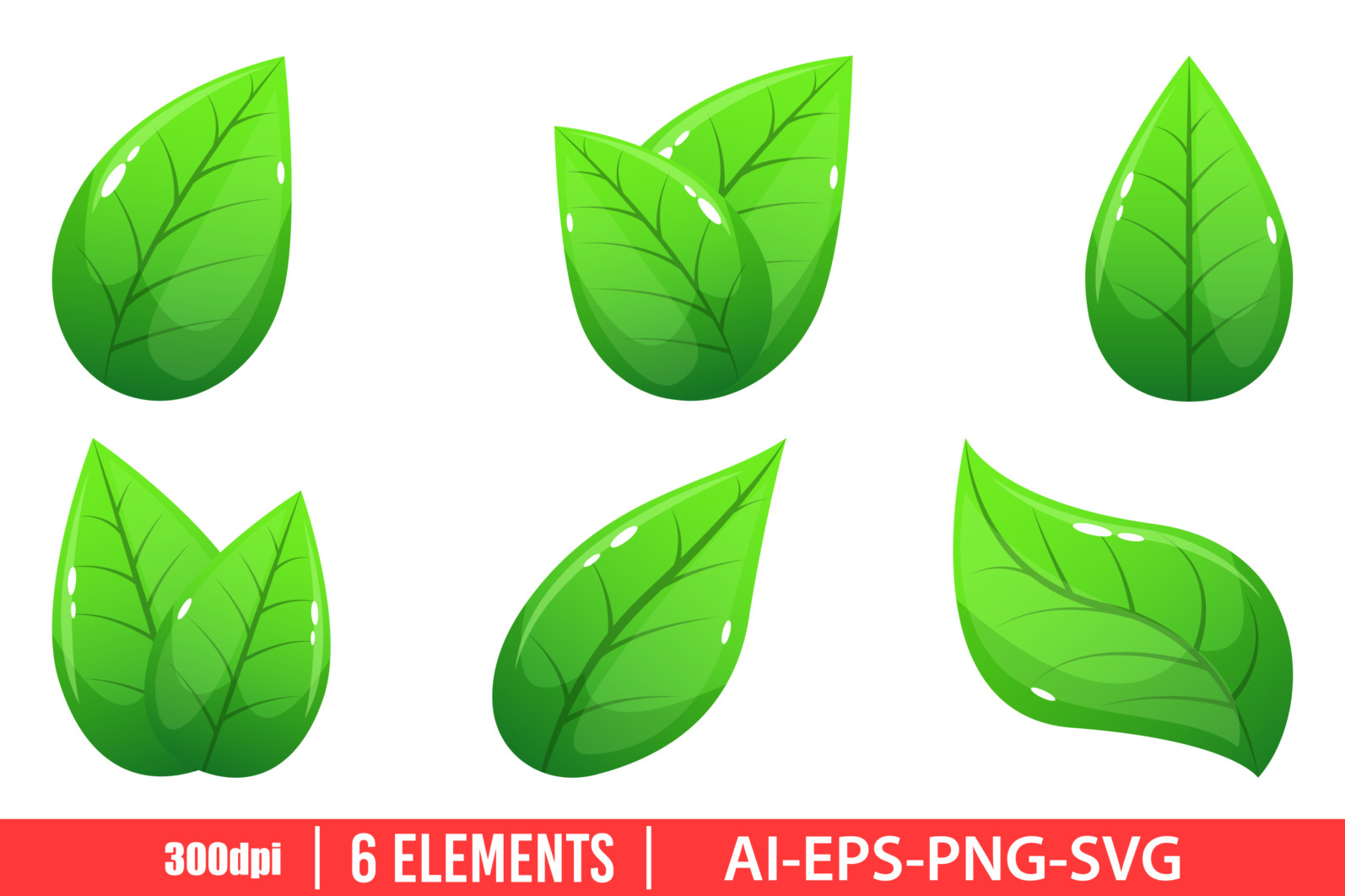 Realistic leaf clipart vector design illustration. Leaf set. Vector Clipart Print - REALISTIC LEAF scaled -