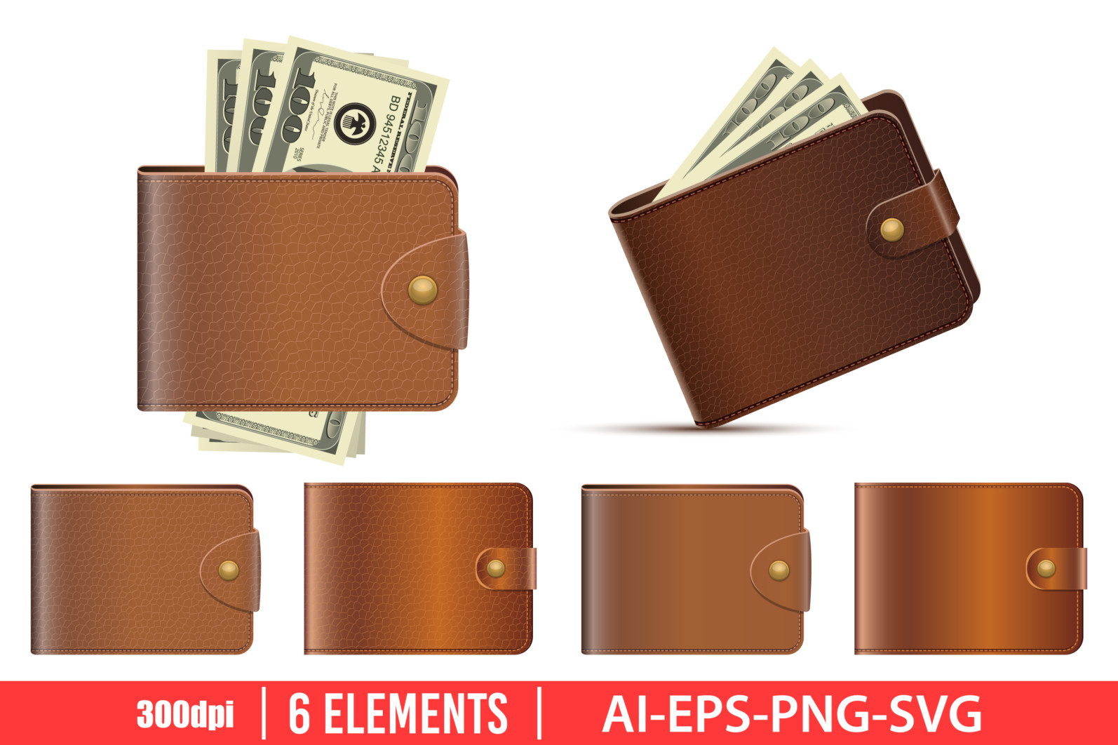 Leather wallet clipart vector design illustration. Leather wallet set. Vector Clipart Print - LEATHER WALLET scaled -