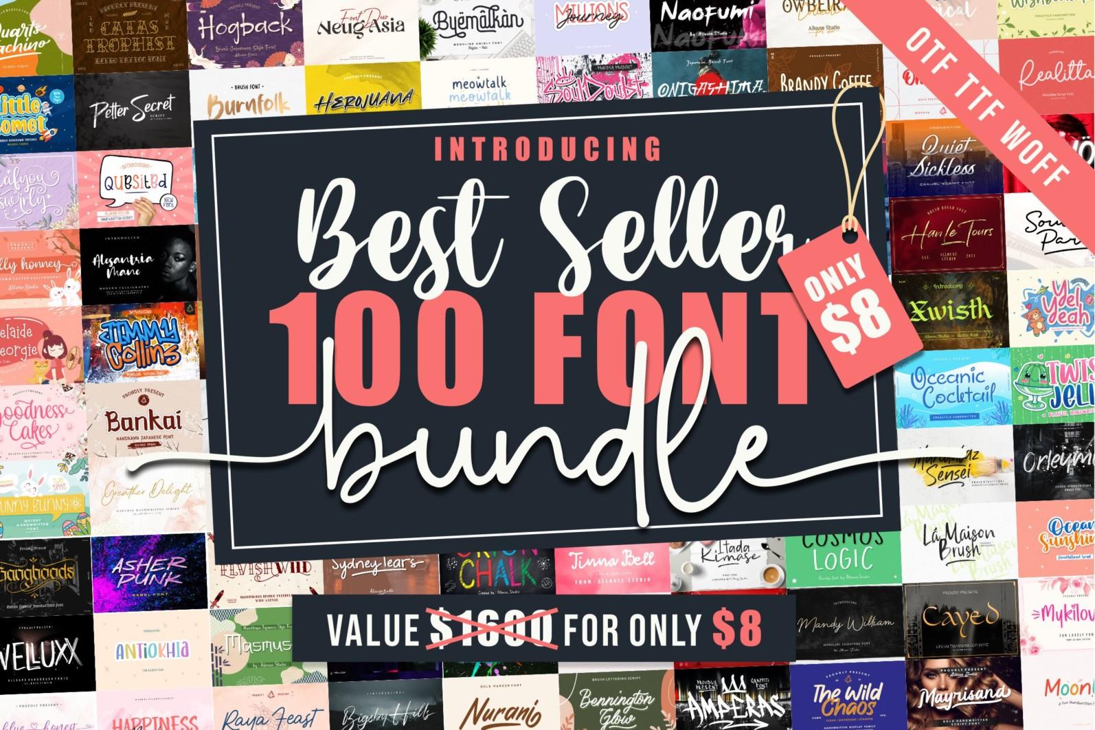 Best Seller 100 Font Bundle - 100 2 -