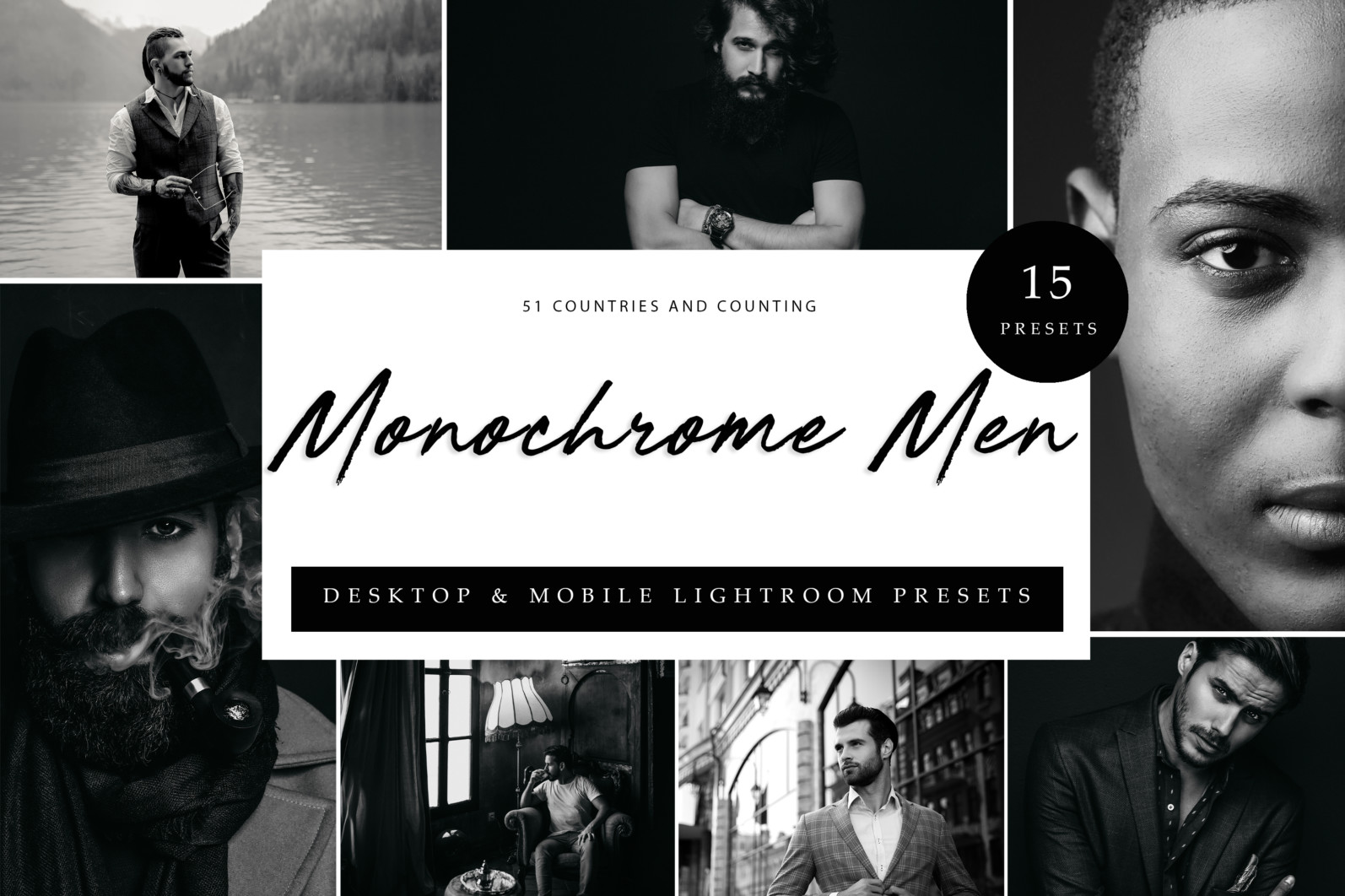 15 x Lightroom Presets, Monochrome Men Presets, Black and White Presets, Portrait Presets - Cover Monochrome Men scaled -