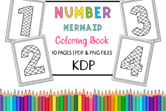 All Freebies - KDP Number Mermaid Coloring Book for Kids Set 2 -