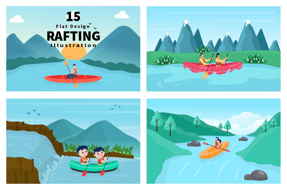15 Rafting, Canoeing, Kayaking in the River Vector Illustration - rafting 01 -