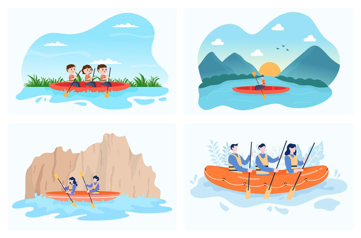 15 Rafting, Canoeing, Kayaking in the River Vector Illustration - rafting 02 -