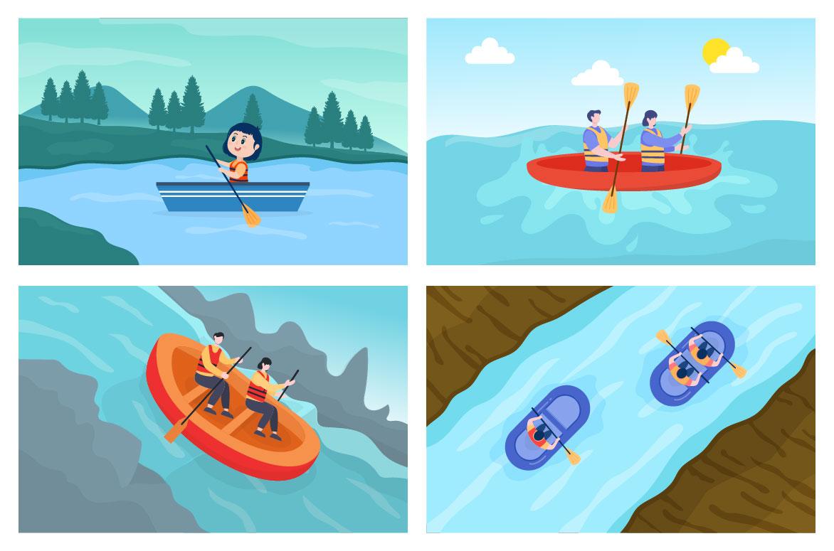 15 Rafting, Canoeing, Kayaking in the River Vector Illustration - rafting 03 -