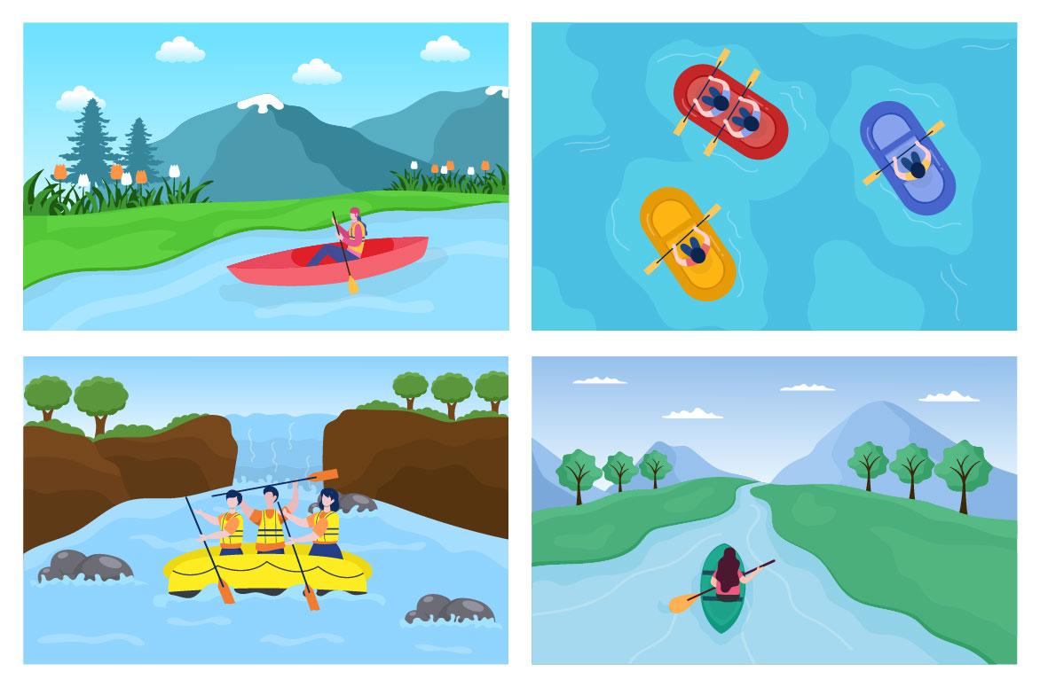 15 Rafting, Canoeing, Kayaking in the River Vector Illustration - rafting 04 -