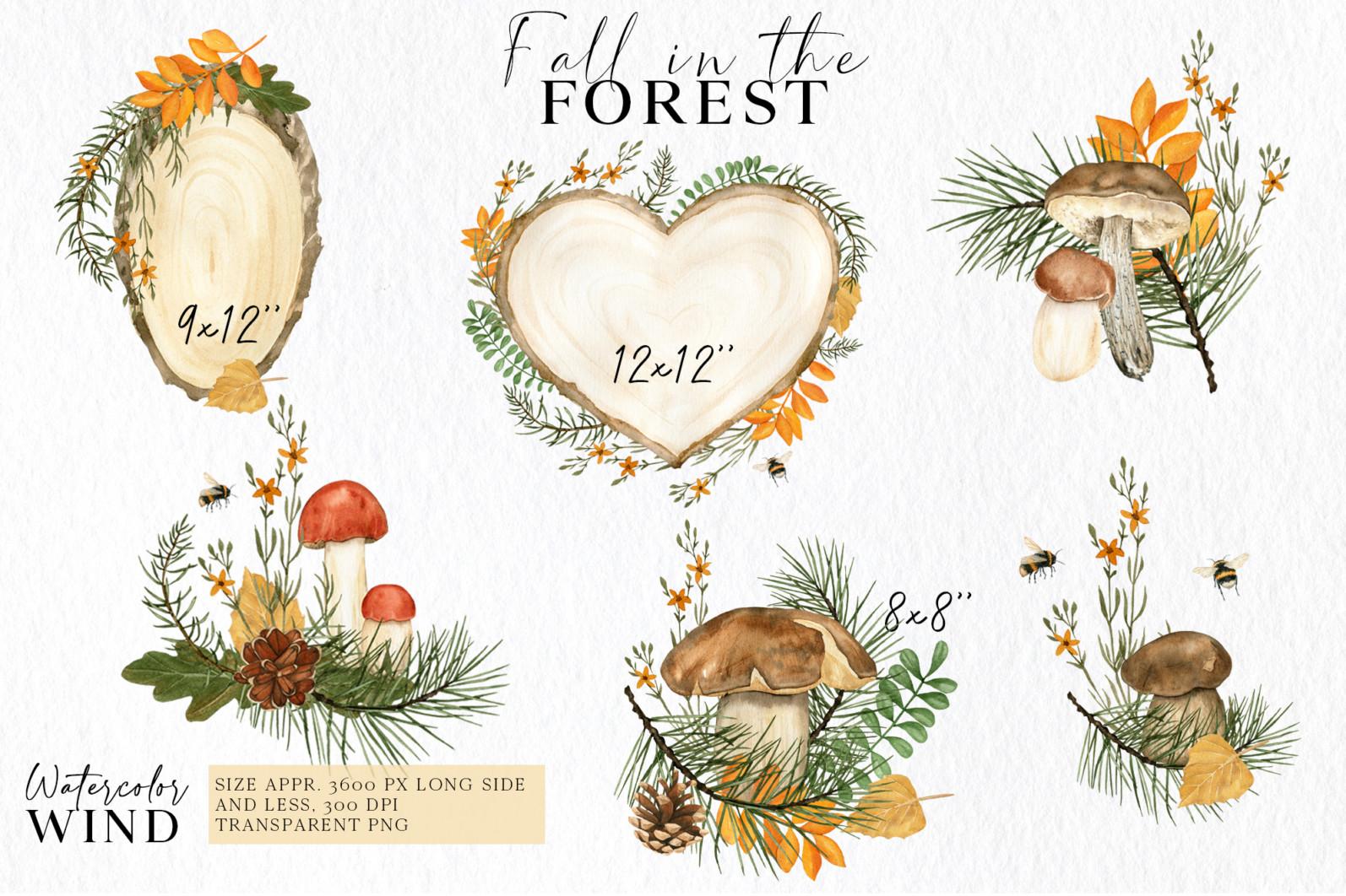 Fall forest mushrooms clipart, autumn clip art - 01 compos -
