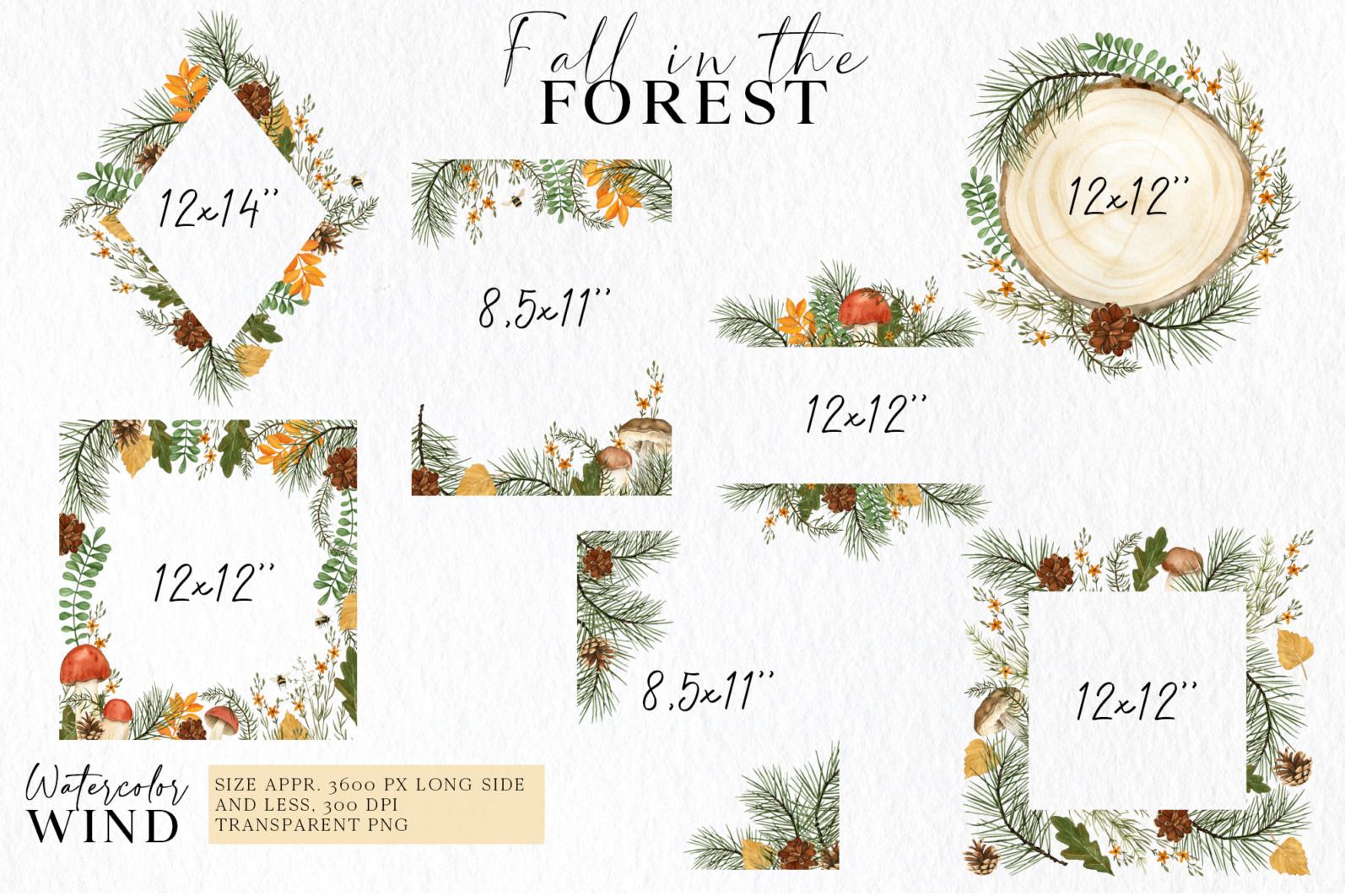 Fall forest mushrooms clipart, autumn clip art - 01 fr -