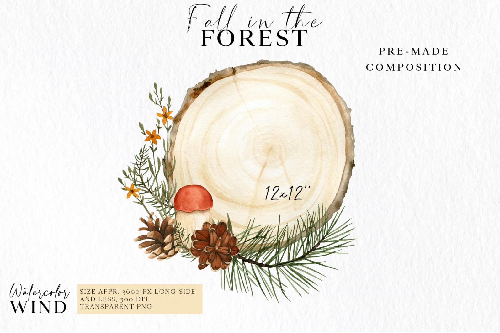 Fall forest mushrooms clipart, autumn clip art - 03 11 -