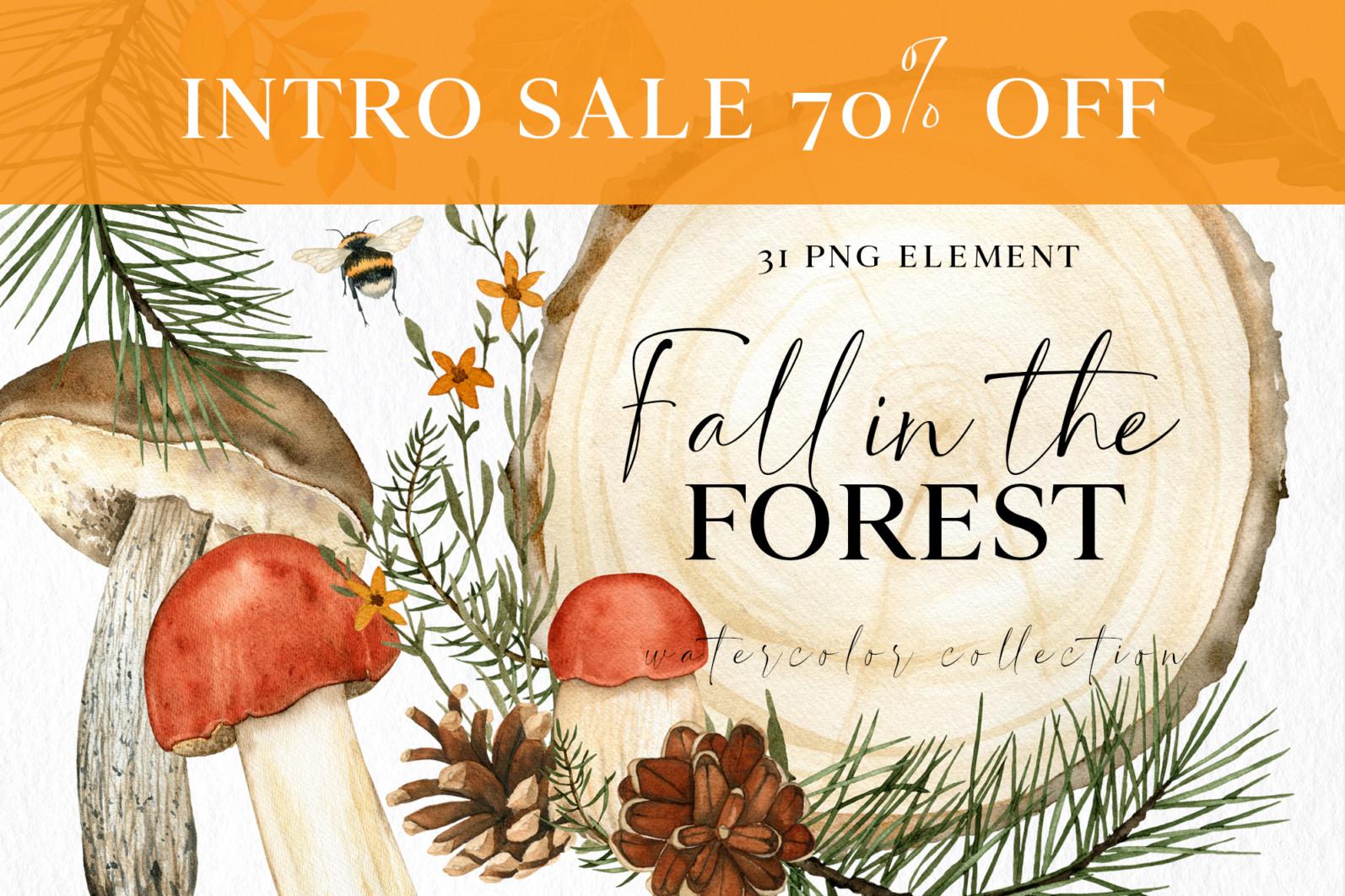 Fall forest mushrooms clipart, autumn clip art - 000 -