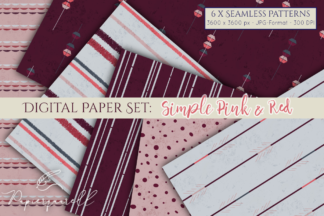All Freebies - Simple Pink and Red Digital Paper Set -