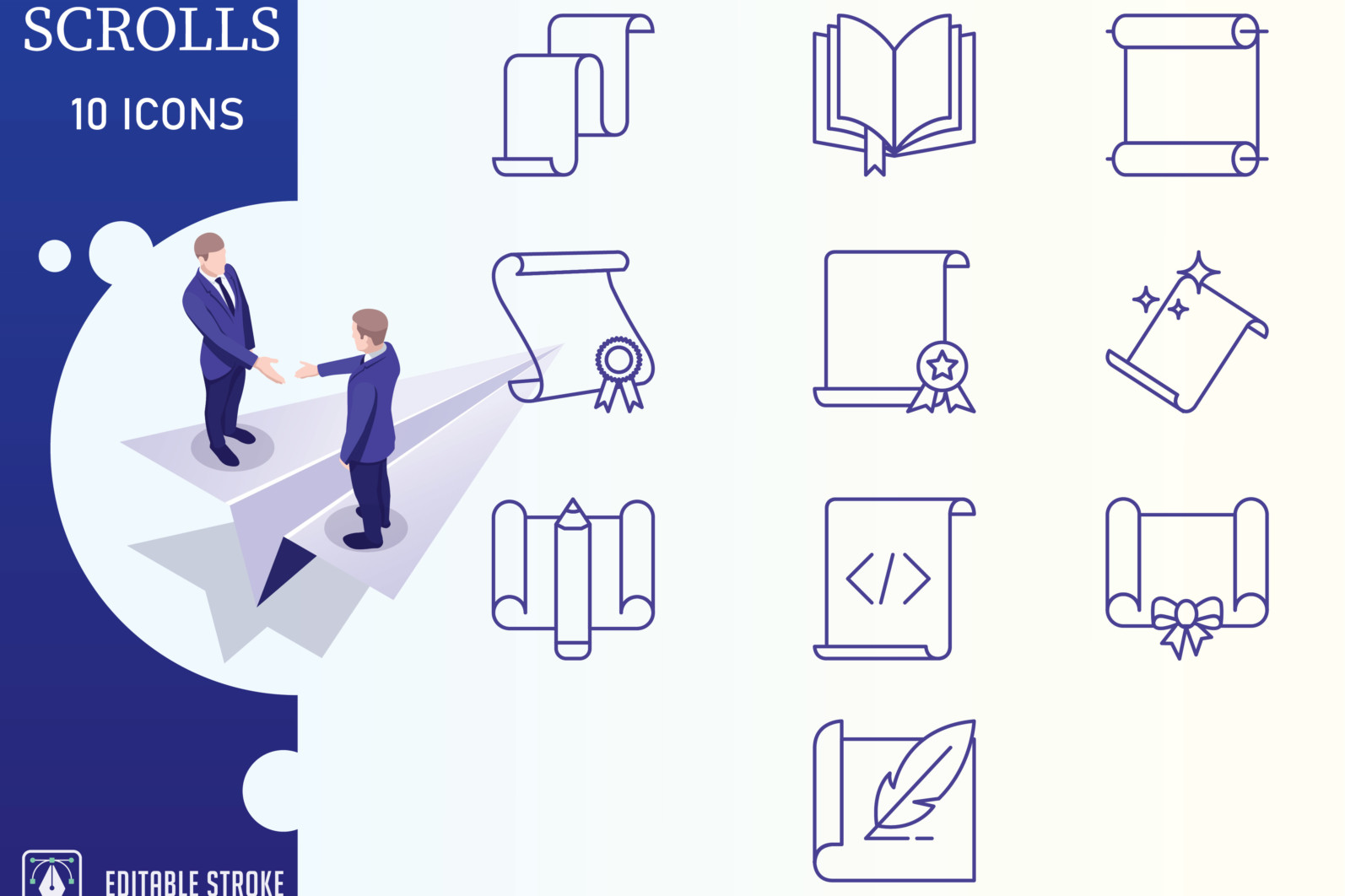 Outline : Scrolls Icon set - Scrolls 01 scaled -