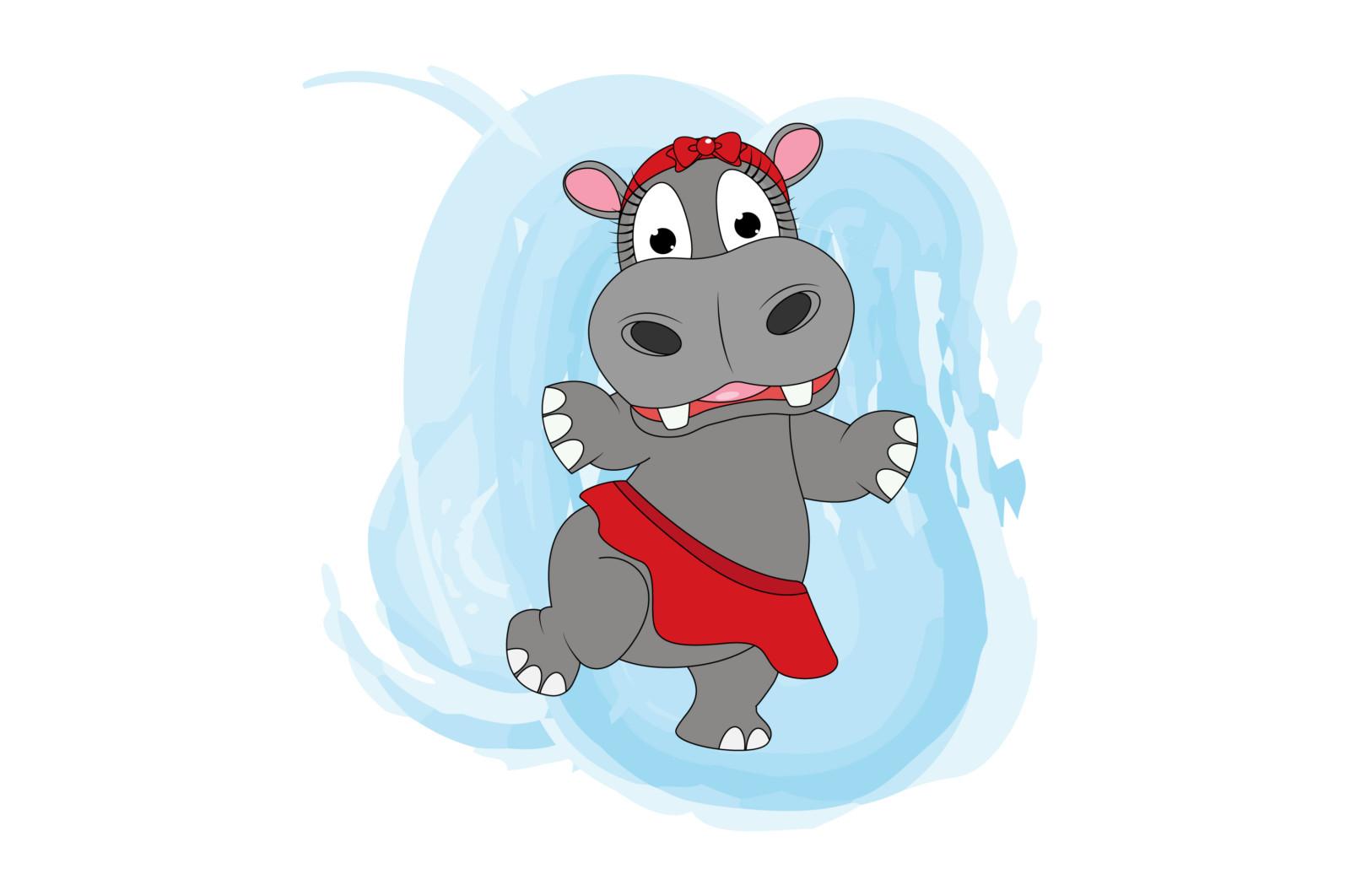 cute hippo animal cartoon dancing - hippodancing scaled -