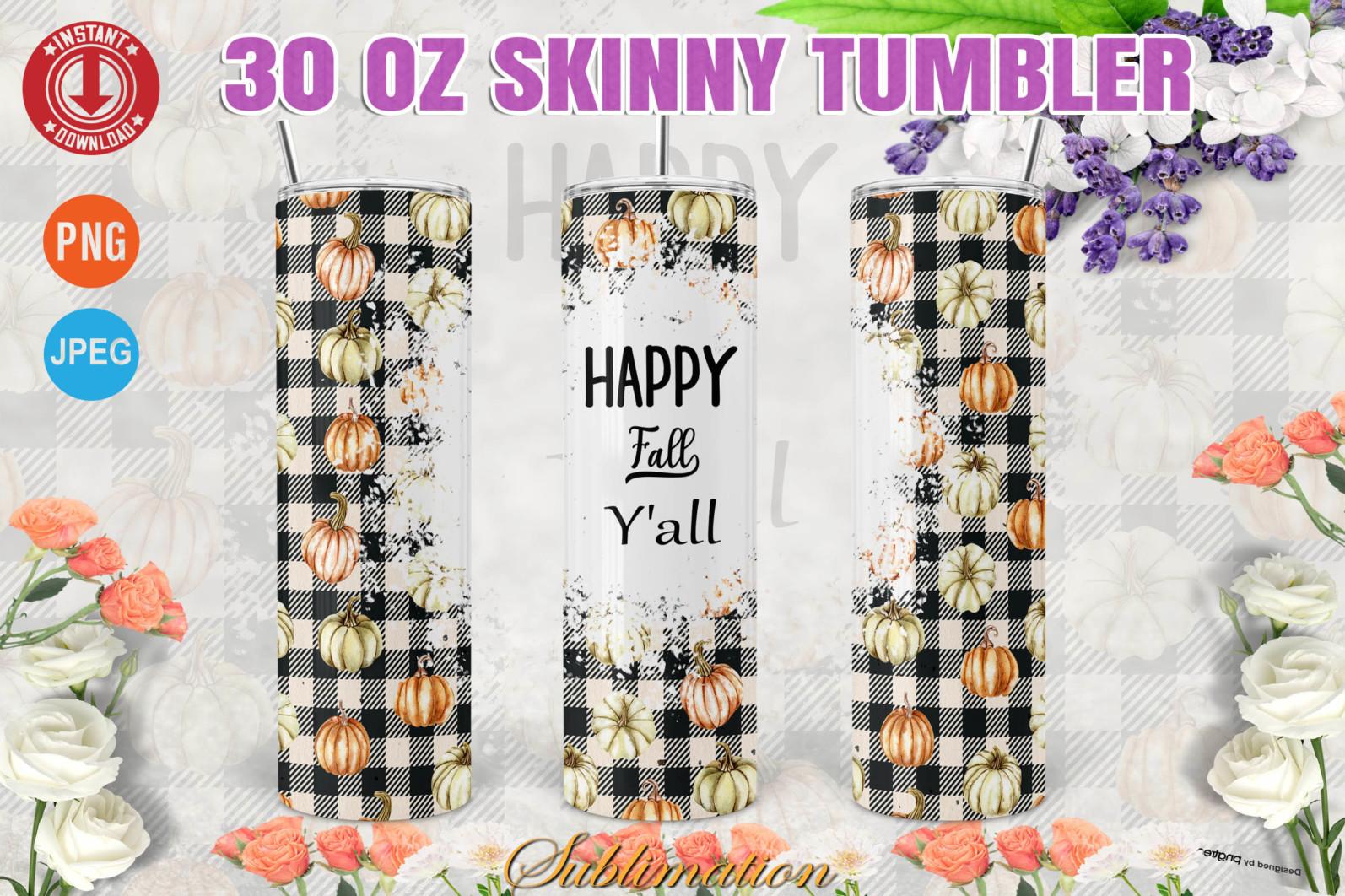 Happy Fall Y'all Plaid 30oz Skinny tumbler Thanksgiving - PHOTOSHOP30ozSkinnyWrap copy 1 -