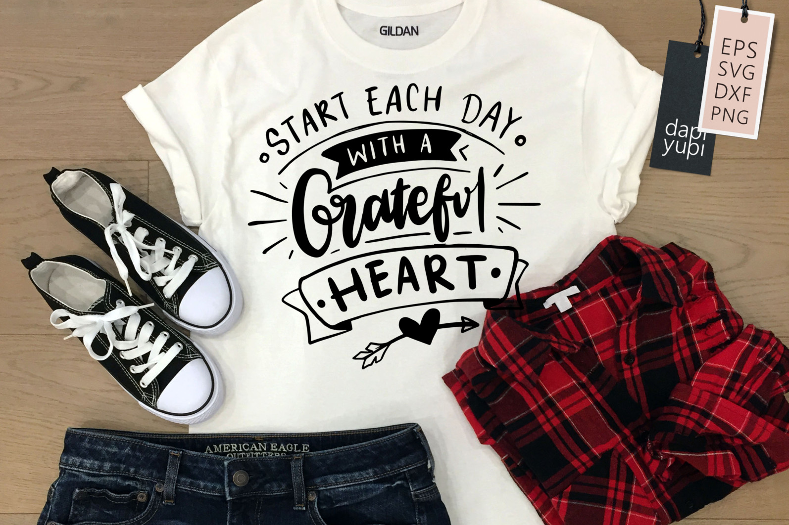 Gratitude Lettering Quotes SVG Starts Each Day With A Grateful Heart - grateful7 -