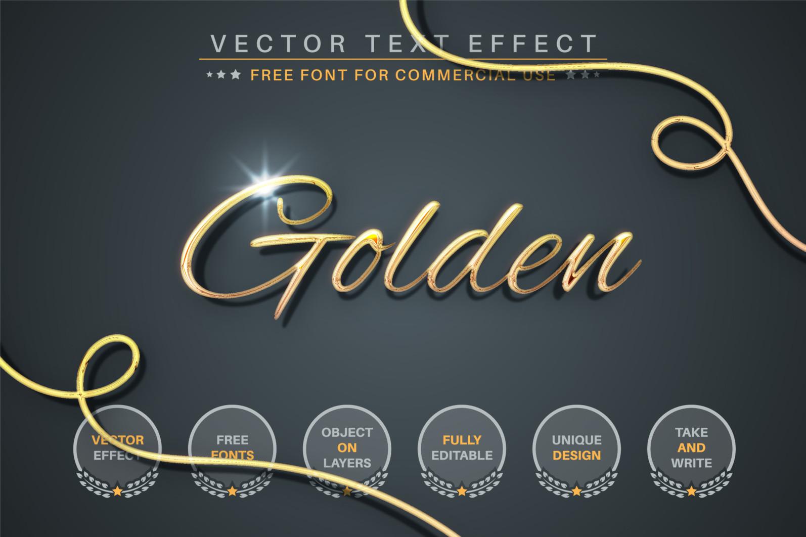 Golden Lettering Editable Text Effect, Font Style - 337 golden 2340X1560 -