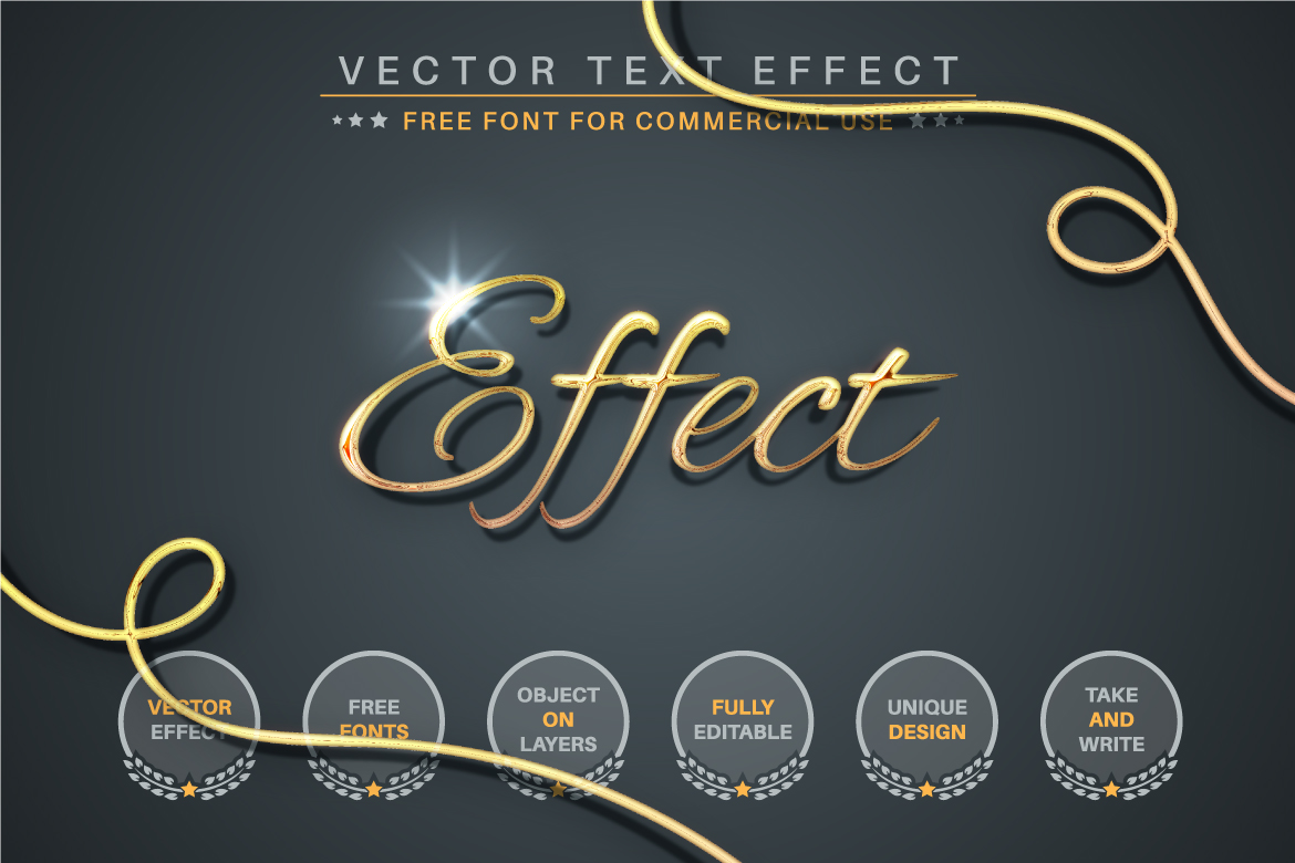 Golden Lettering Editable Text Effect, Font Style - a 3 -