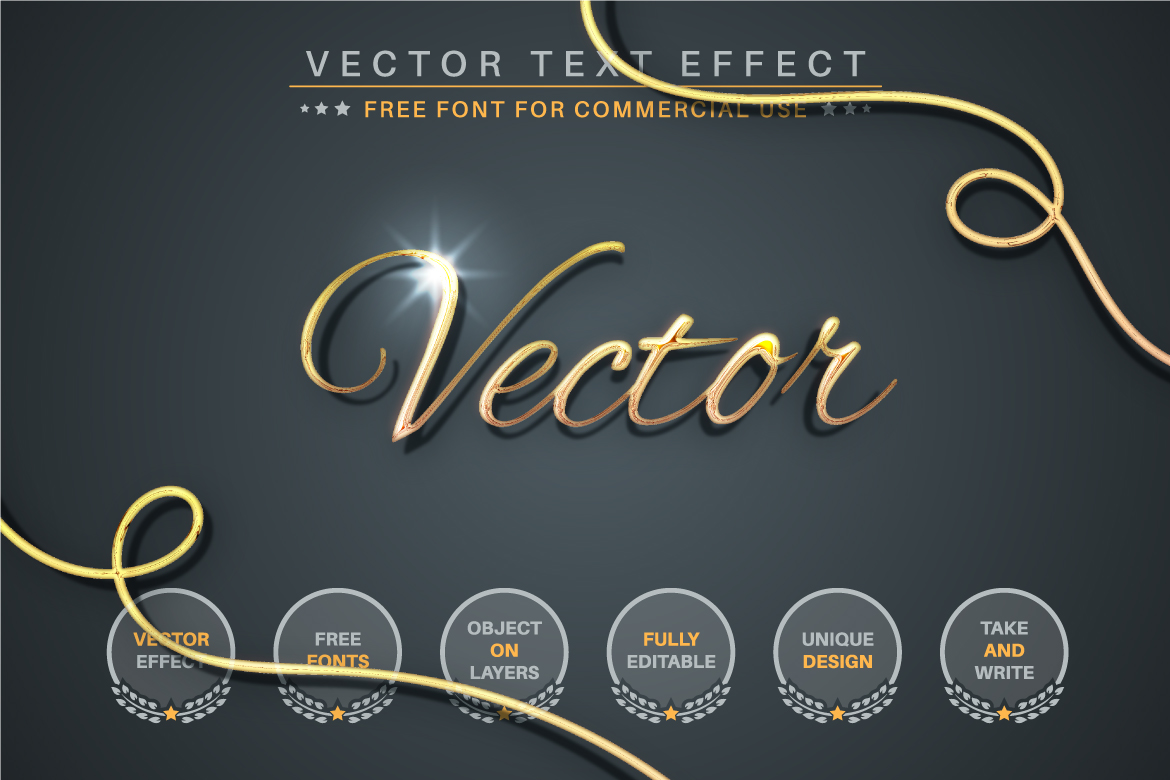 Golden Lettering Editable Text Effect, Font Style - b 3 -