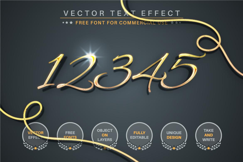 Golden Lettering Editable Text Effect, Font Style - c 3 -