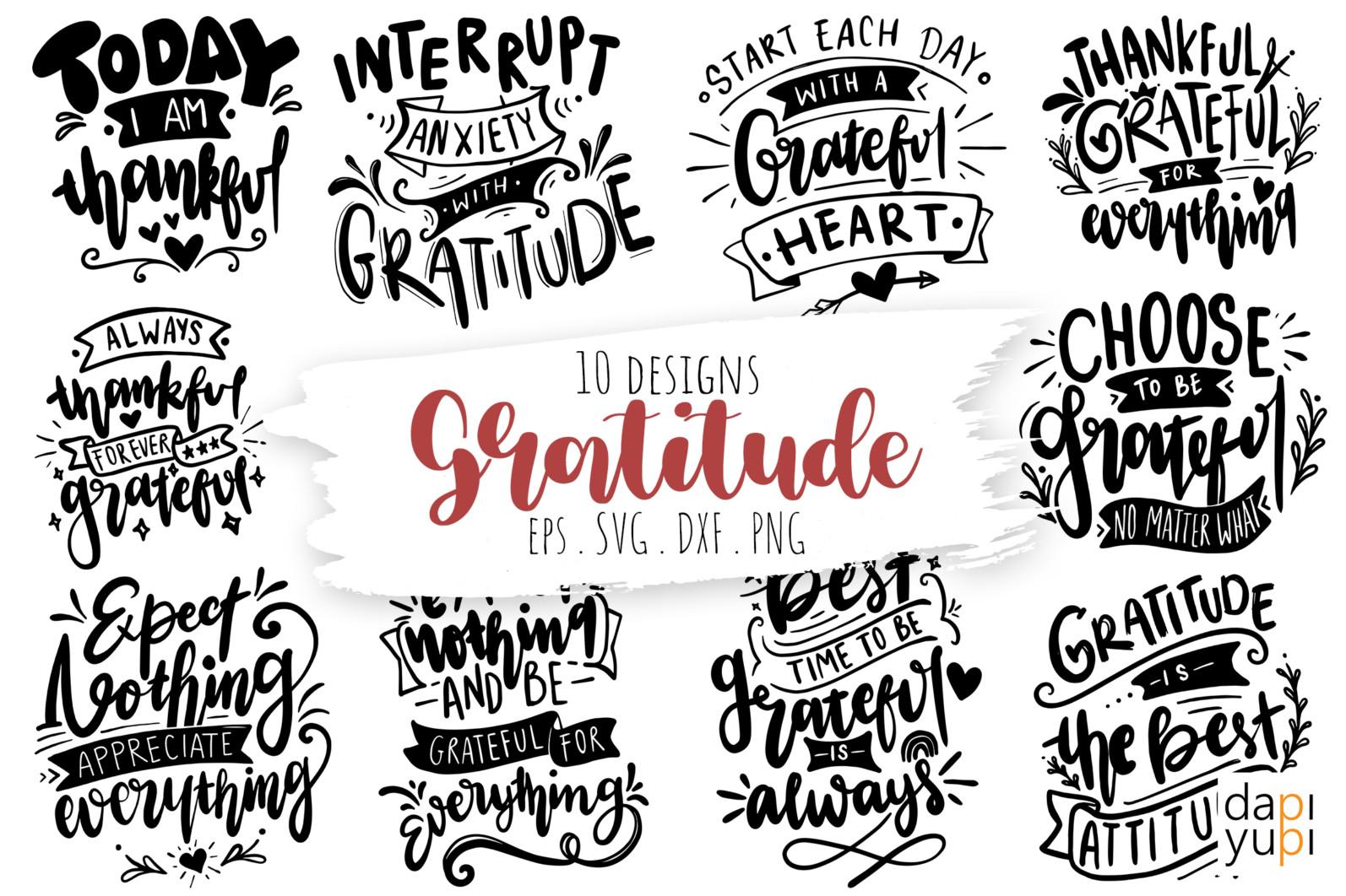 Gratitude Lettering Quotes Bundle Grateful SVG - grateful12 -