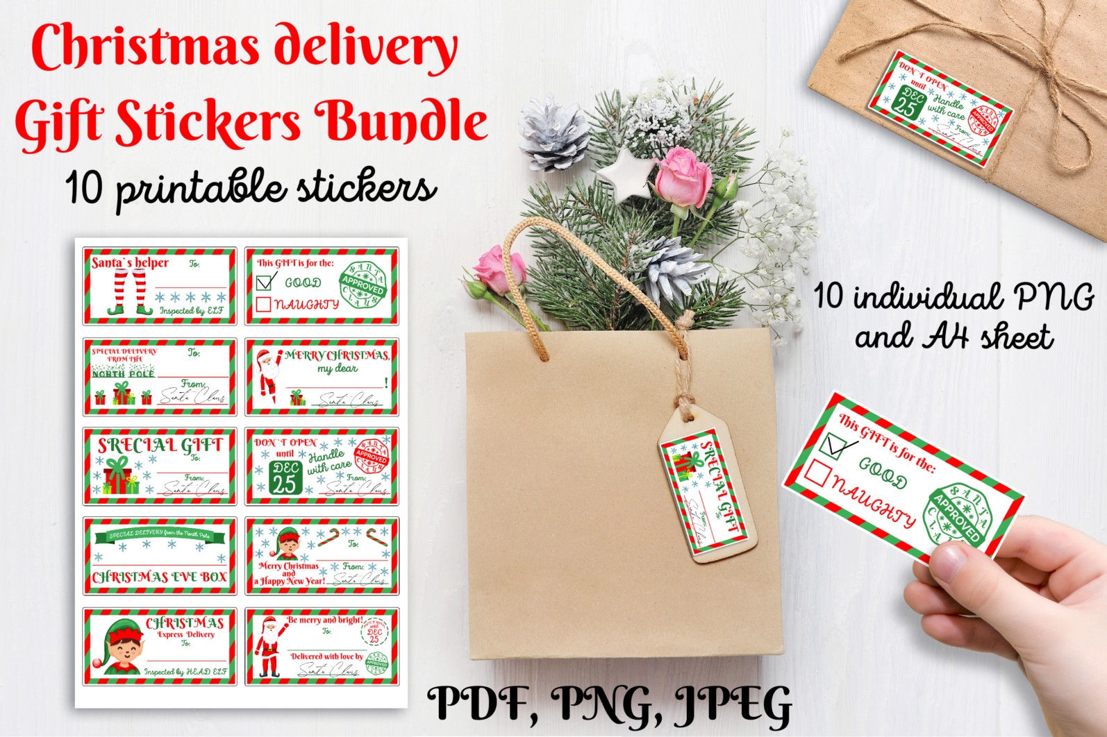 Christmas bundle Vol. 1. Christmas stickers. Christmas SVG bundle. - 22 Christmas Stickers custom gift tags Christmas gift christmas gift tags holiday stickers printable gift tag stickers Printable Stickers scaled -