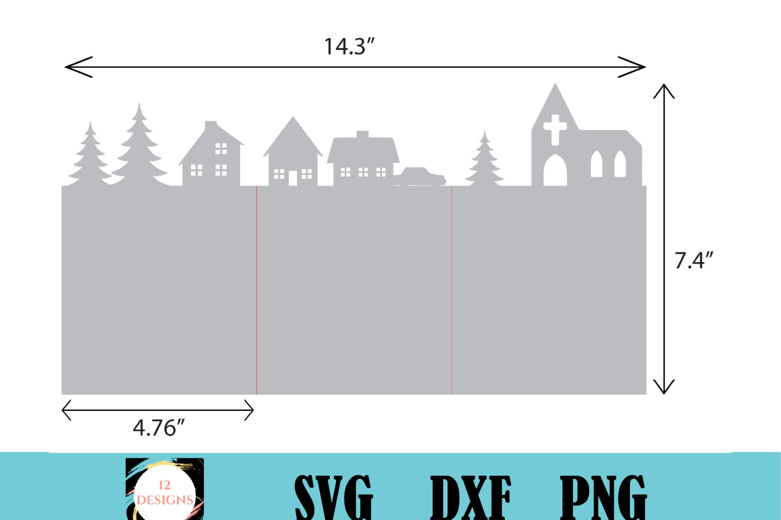 Christmas town scene trifold card - Christmas town scene 01 1 scaled -