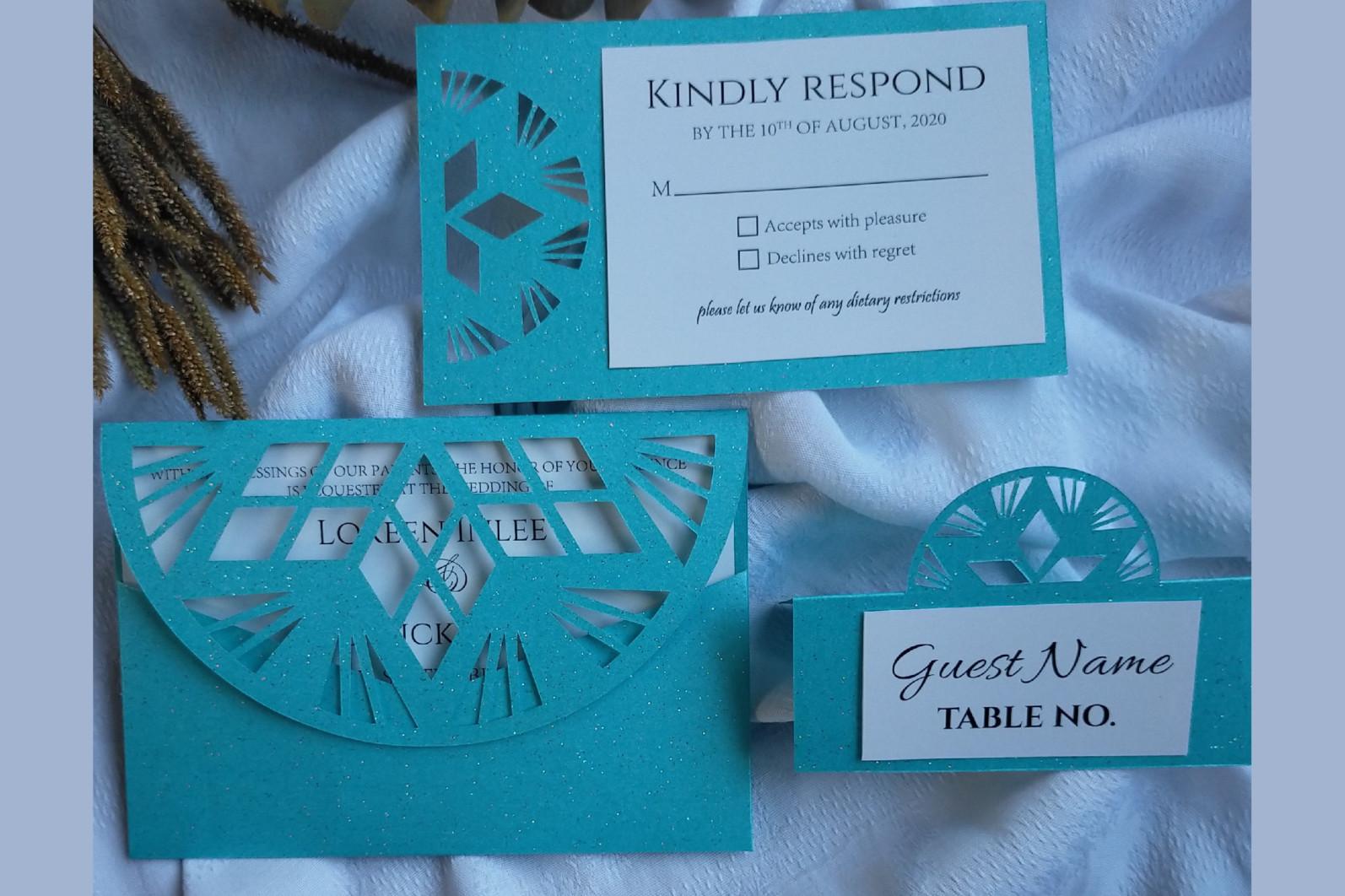 Geometric pattern wedding invitation set of 3 - Geometry patterned wedding invitation 01 -