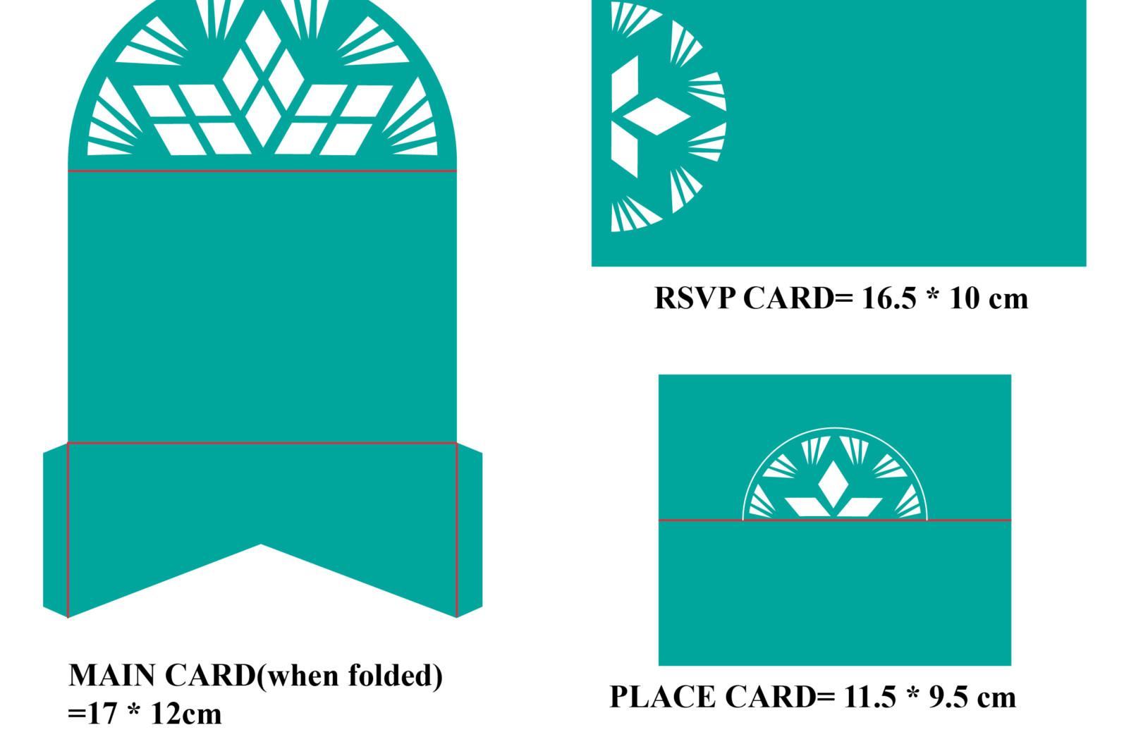 Geometric pattern wedding invitation set of 3 - Geometric patterned wedding invitation 01 -