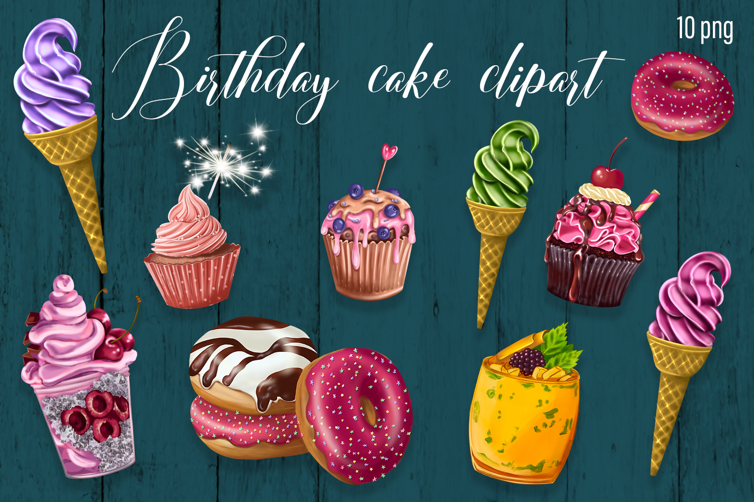 Ice cream cakes clipart. Baby shower clipart. - 1 27 -